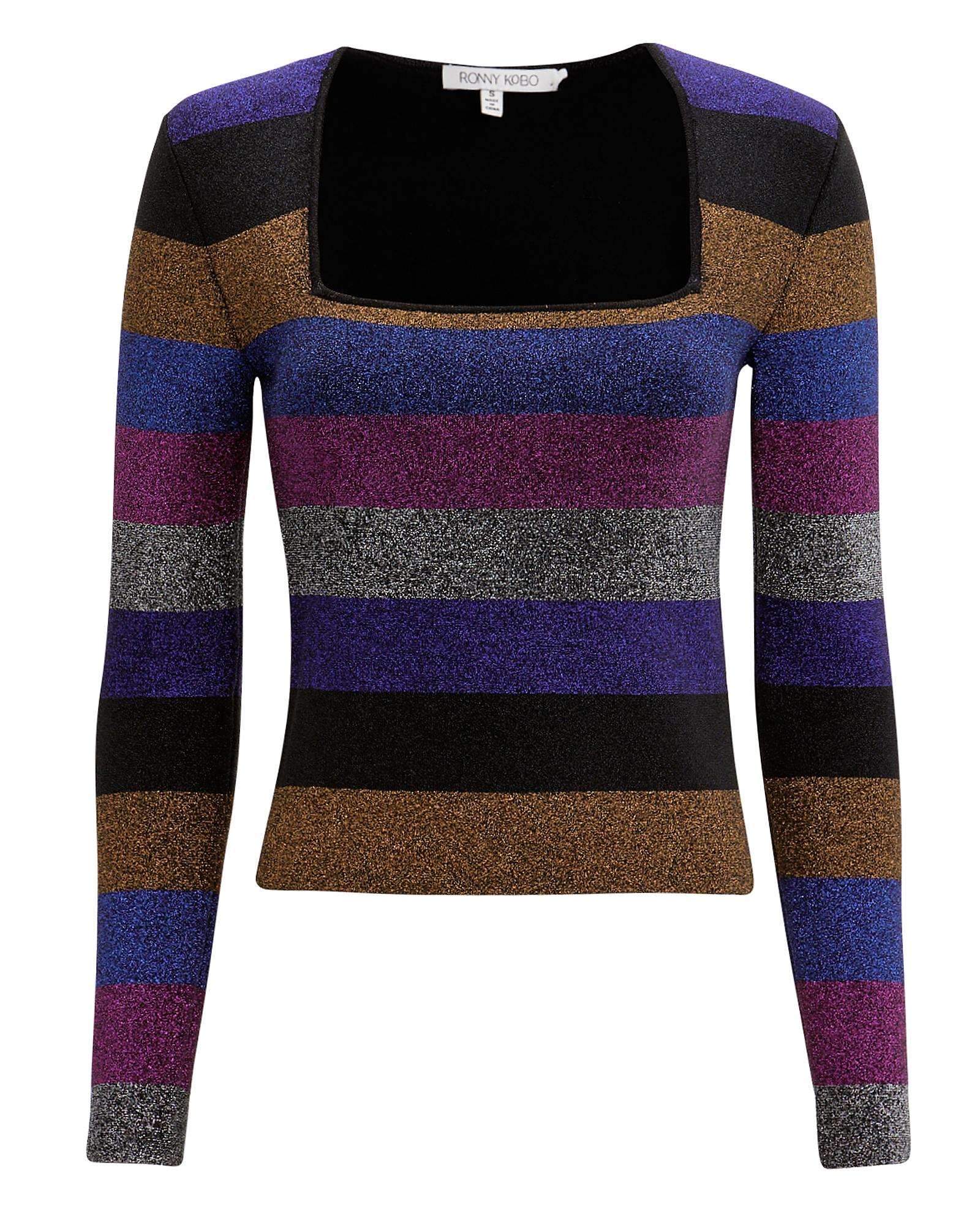 TORN Ronny Kobo Etallic Stripe Top Black/Silver/Purple