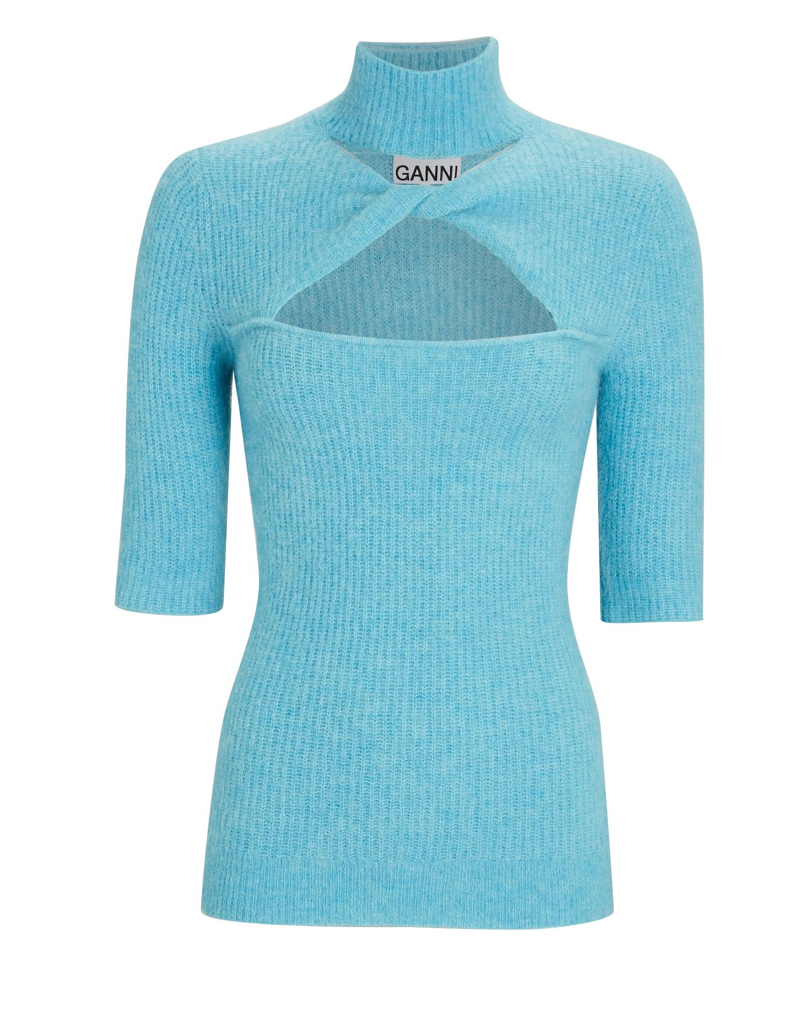 Ganni Wools Twist Front Turtleneck Sweater