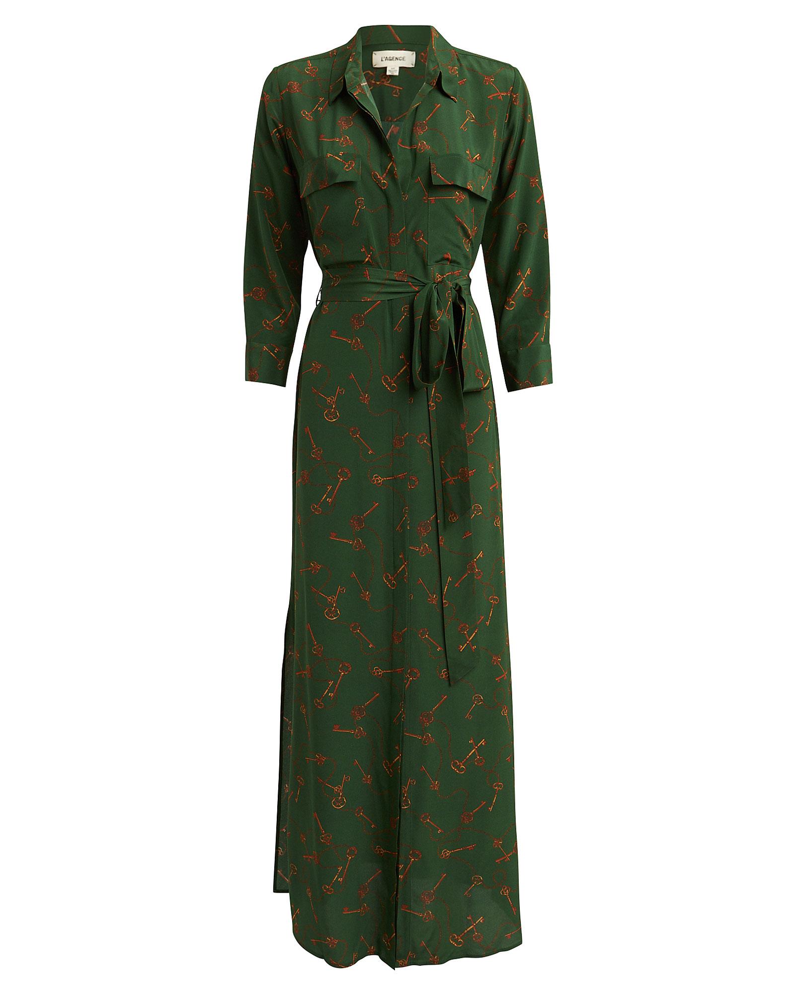 L'agence Dresses L'AGENCE CAMERON KEY-PRINTED SILK SHIRT DRESS