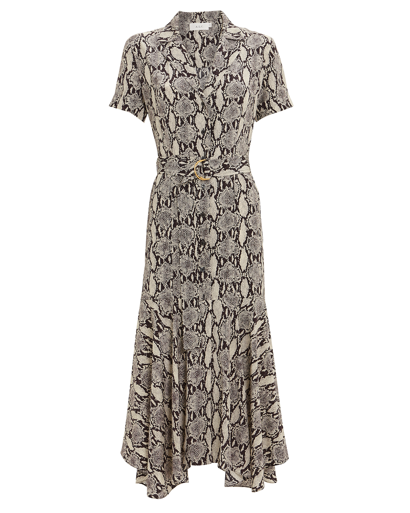 Clarkson Belted Snakeskin Shirt Dress by A.L.C.