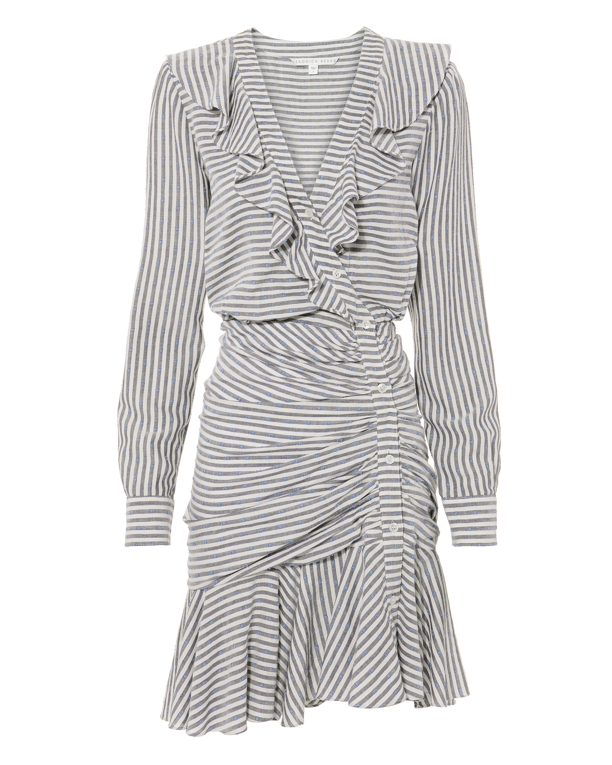 Kai Ruffle Striped Mini Dress by Veronica Beard