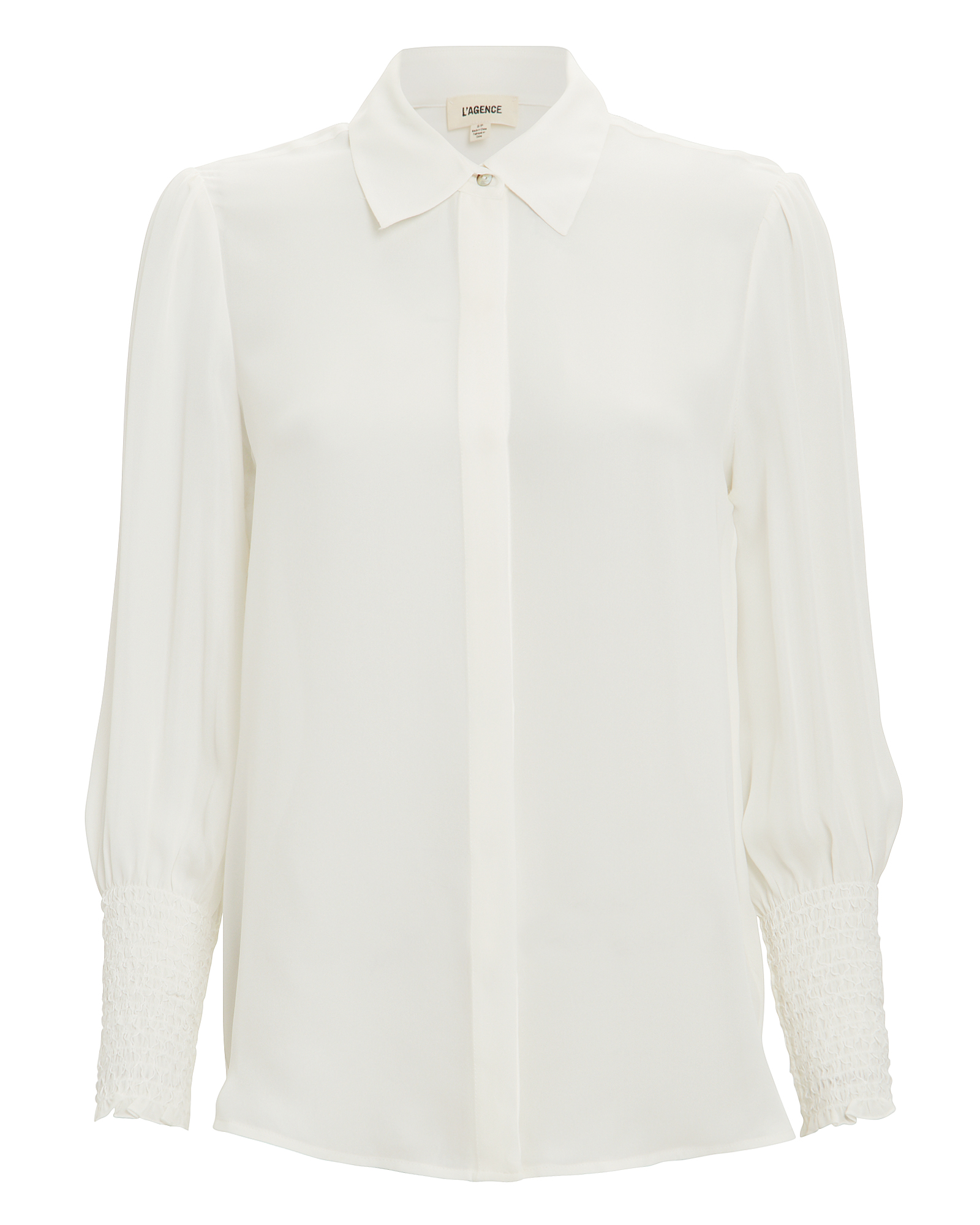 L'agence Tops L'AGENCE LUCIN SMOCKED CUFF BLOUSE  WHITE S