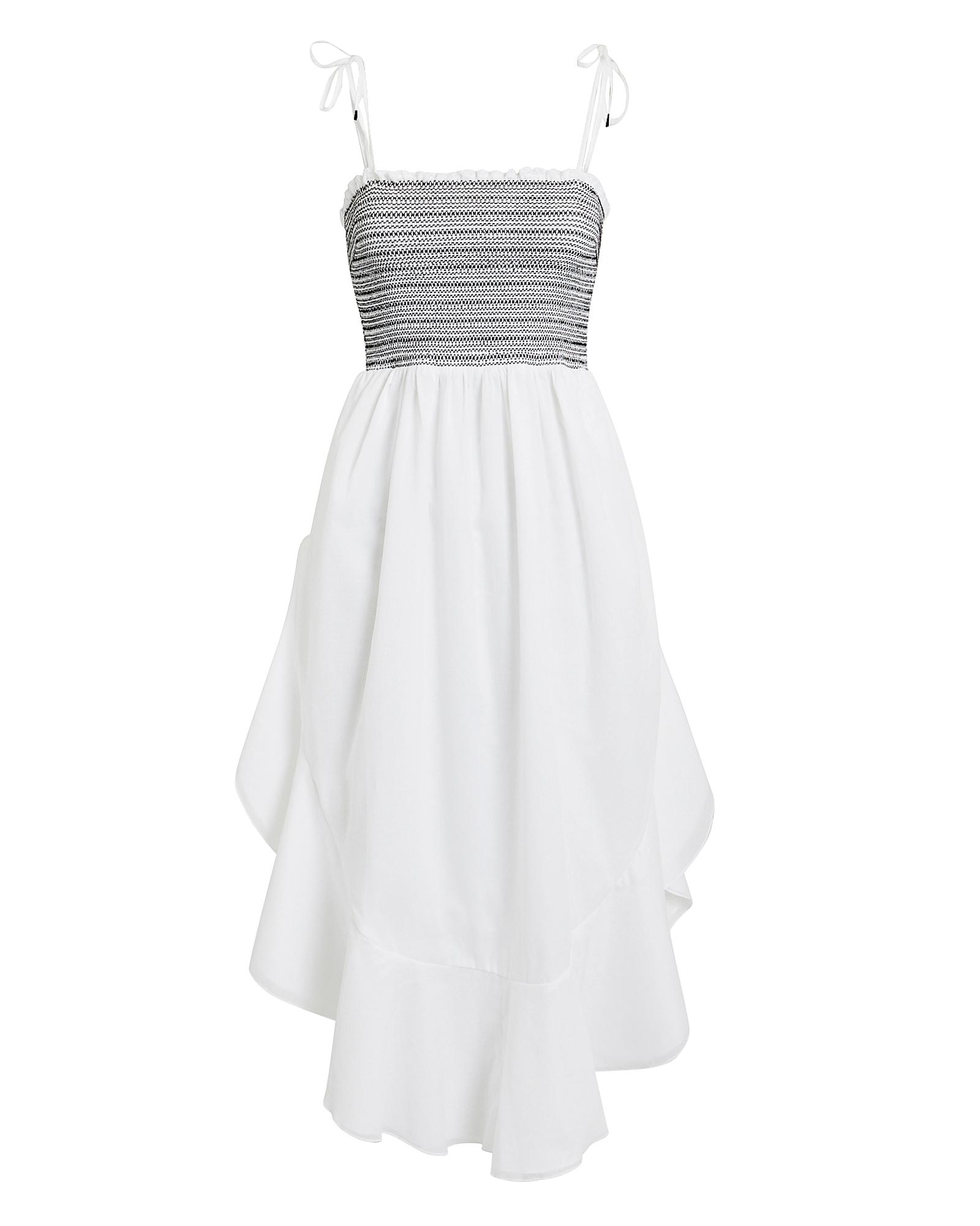 KISUII Alexia Smocked Flounce Sleeveless Dress in White