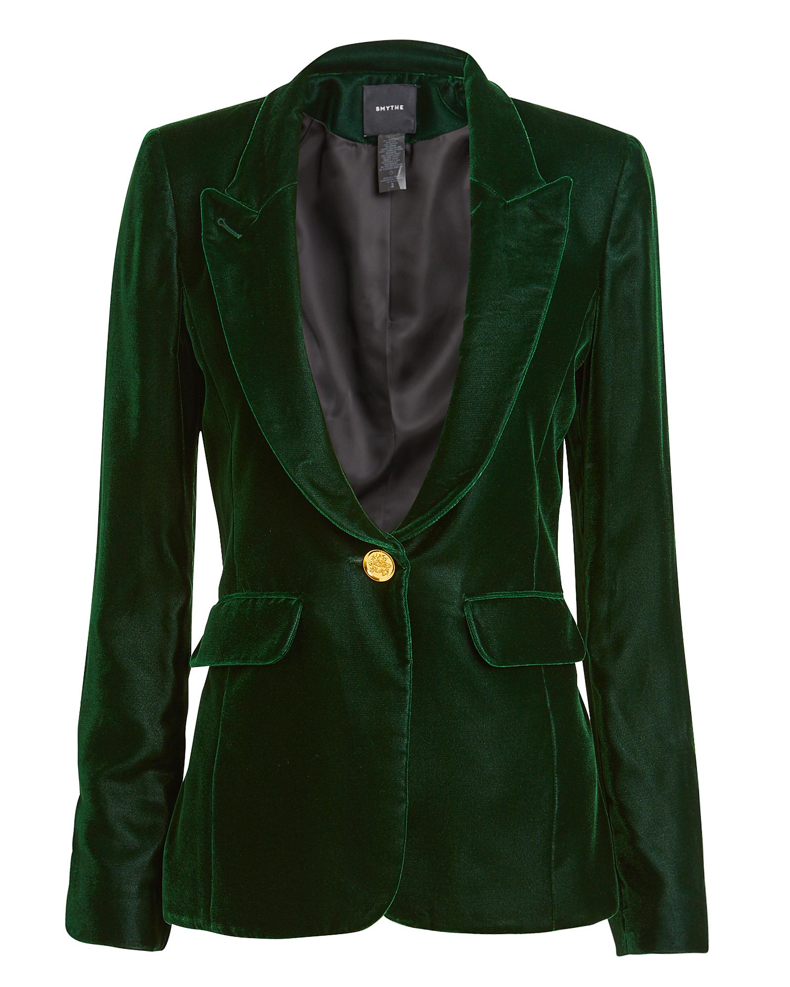 SMYTHE Velvet Peaked Lapel Blazer in Emerald