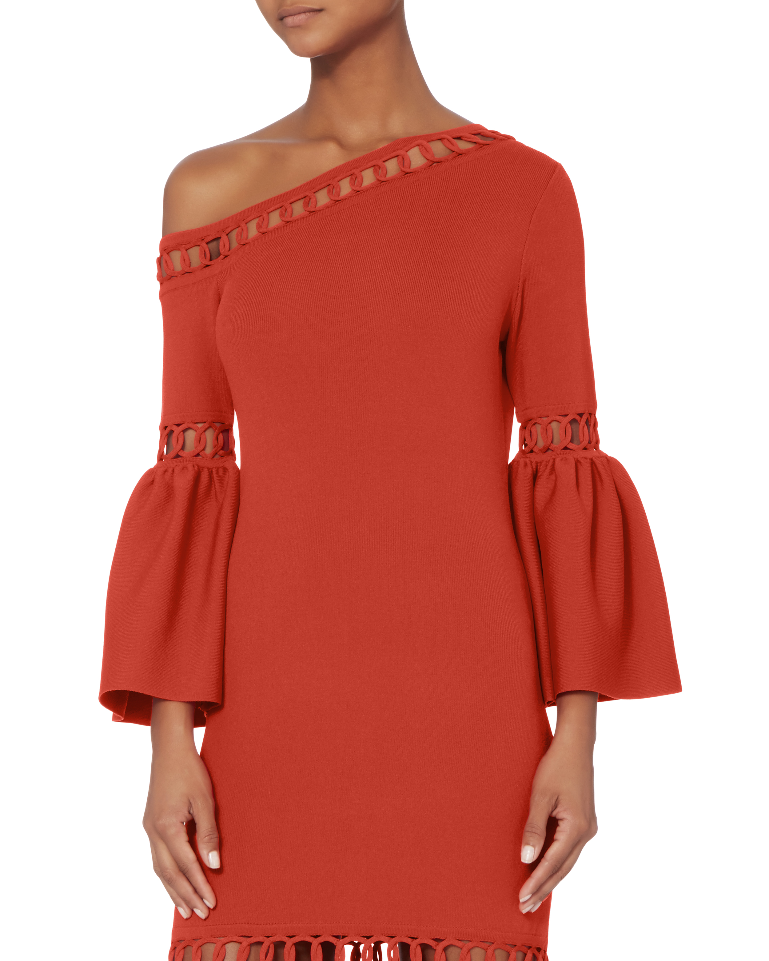 Chainlink Fit And Flare Knit Dress
