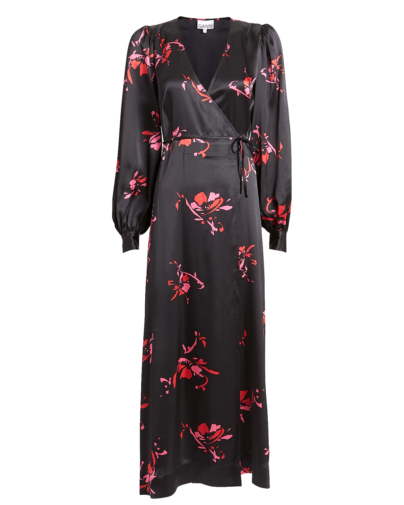 Ganni Dresses GANNI FLORAL PRINT SATIN WRAP DRESS