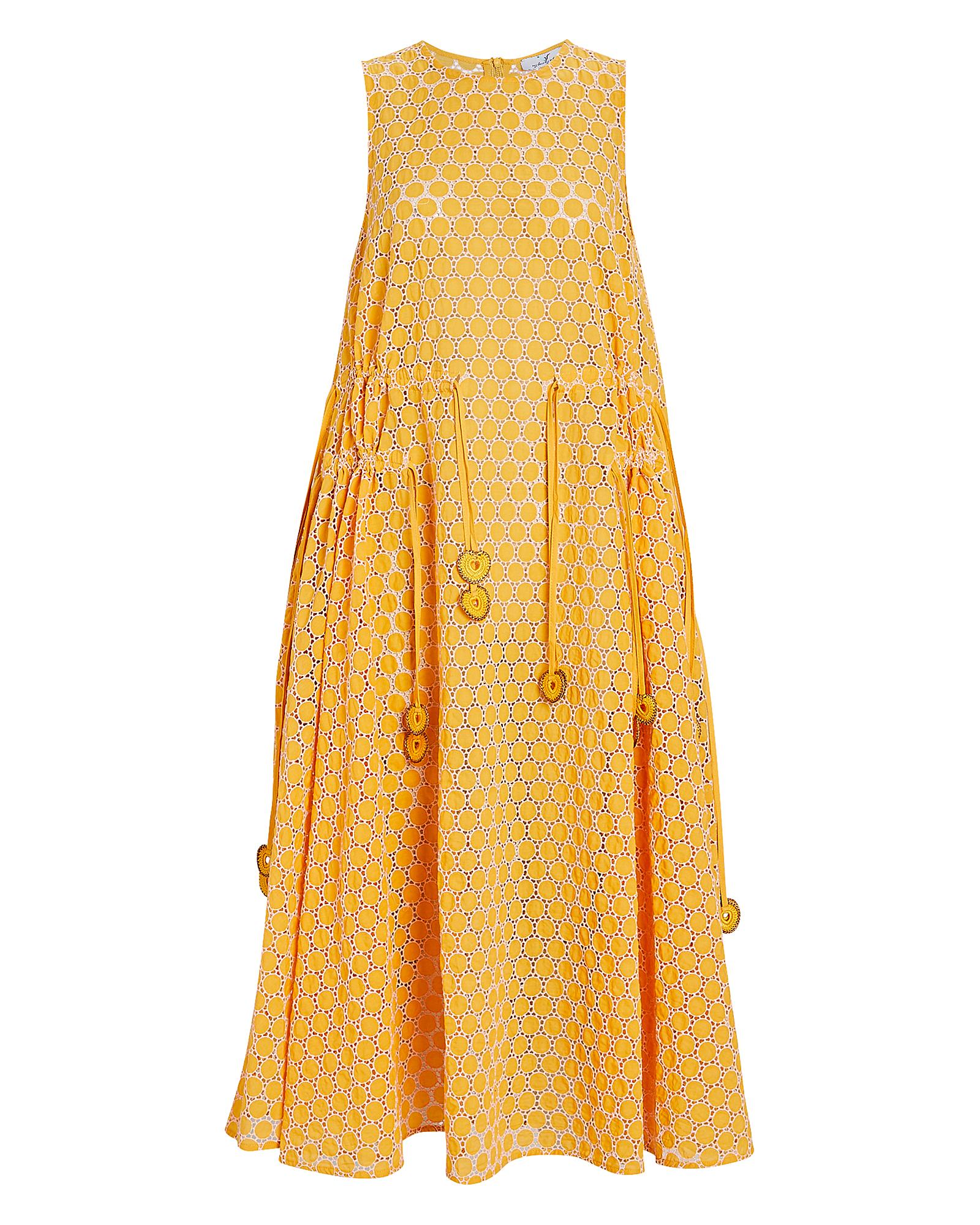 My Beachy Side Cotton Eyelet Midi Dress In Mustard