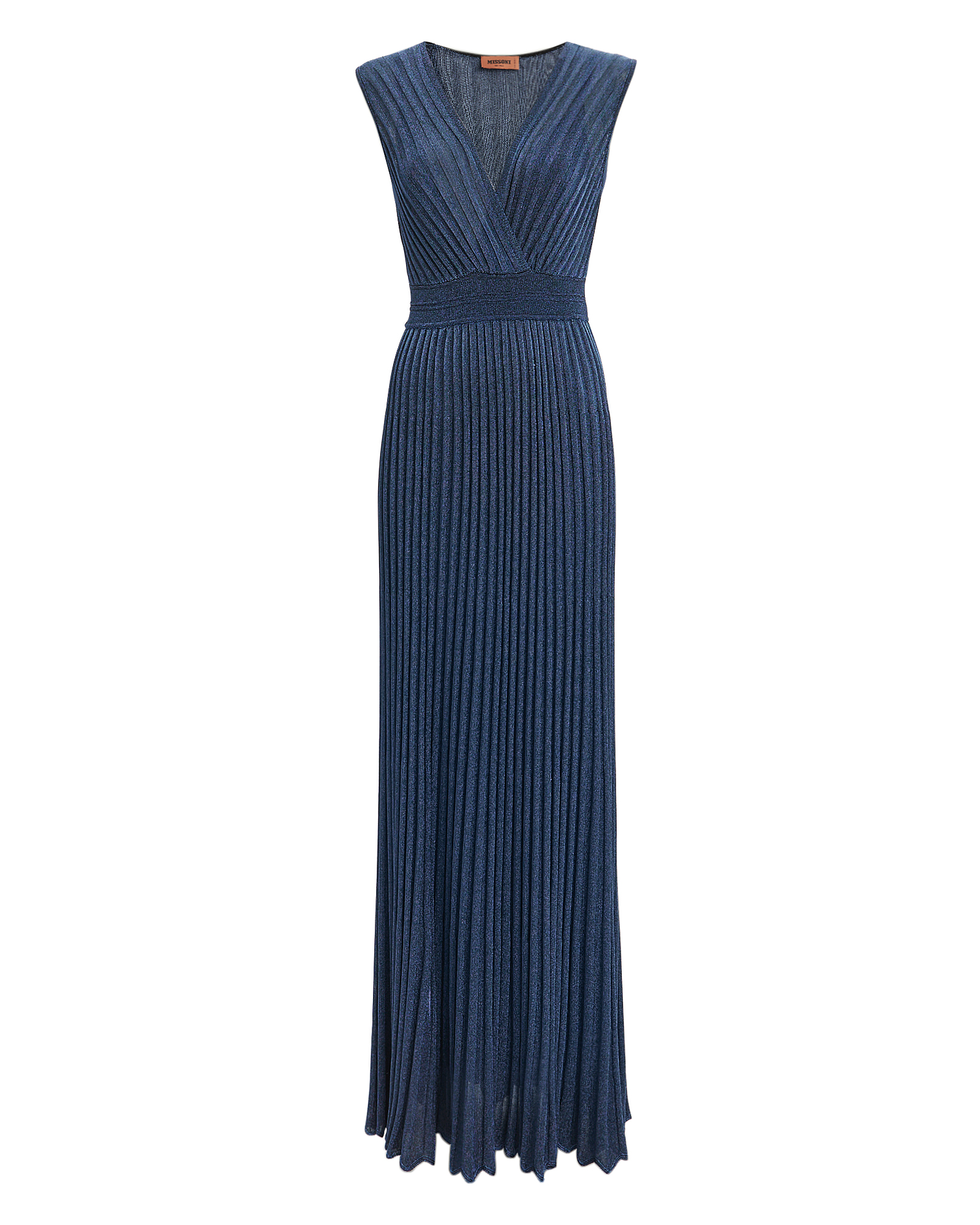 Sleeveless Metallic Crochet-Knit Maxi Dress in Blue