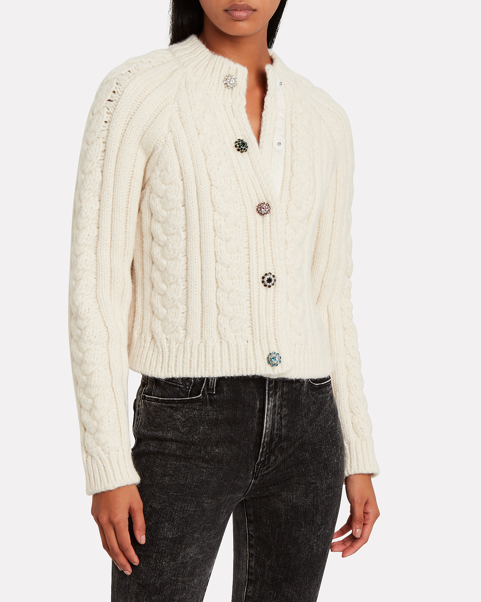 Great Plains Cable knit Ivory Wool Blend Cardigan Size L// UK 14 NEW