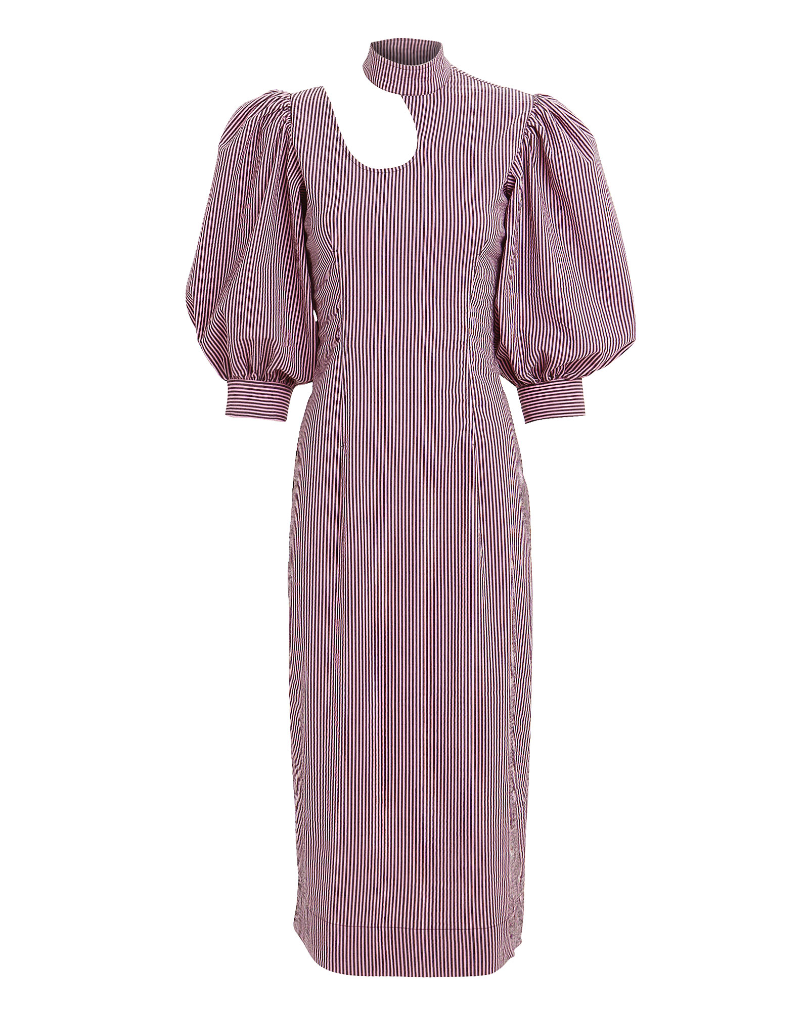 Ganni Dresses GANNI SEERSUCKER PINSTRIPE CUTOUT COLLAR DRESS  PINK 36