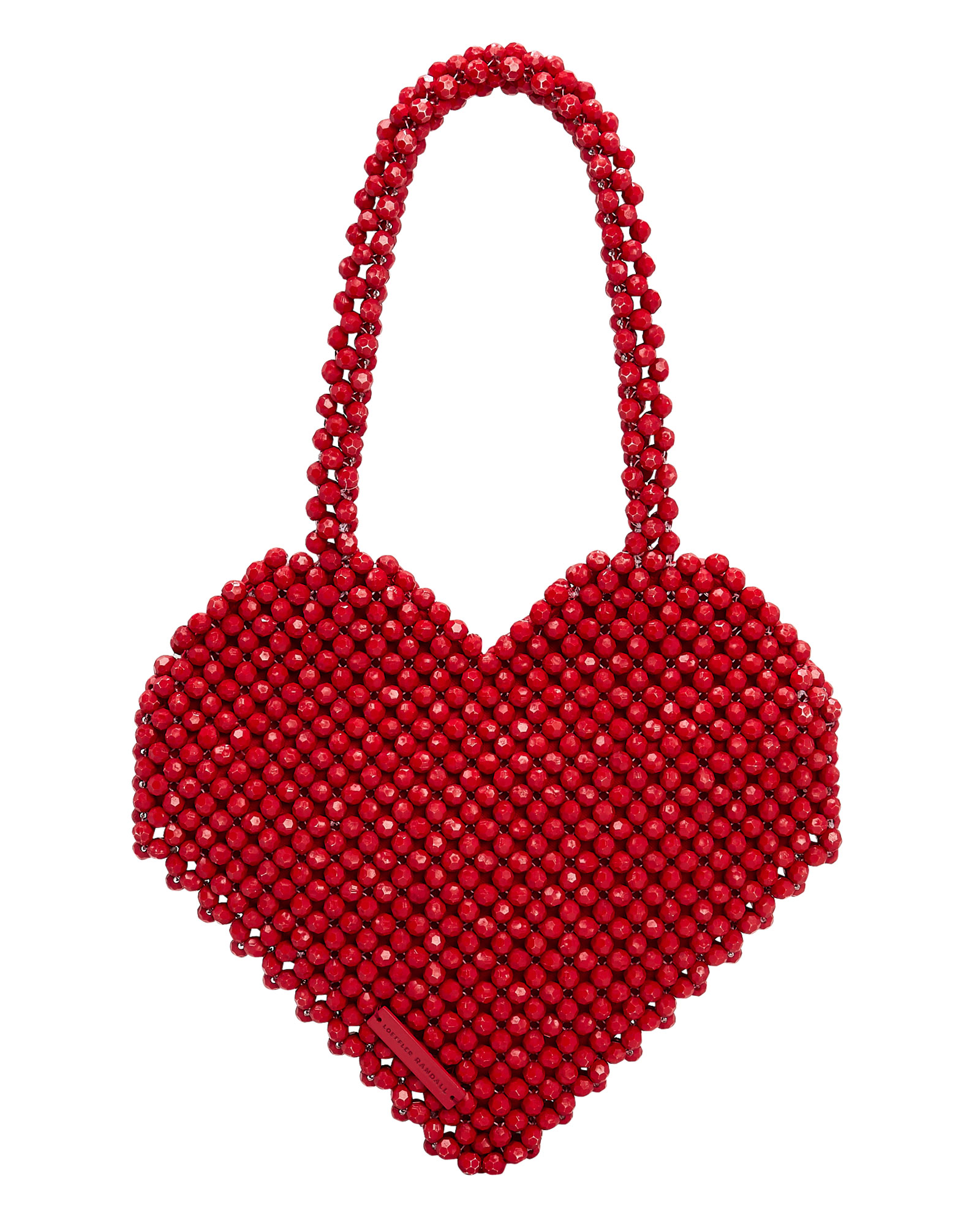 Maria Beaded Heart Tote in Red/Silver