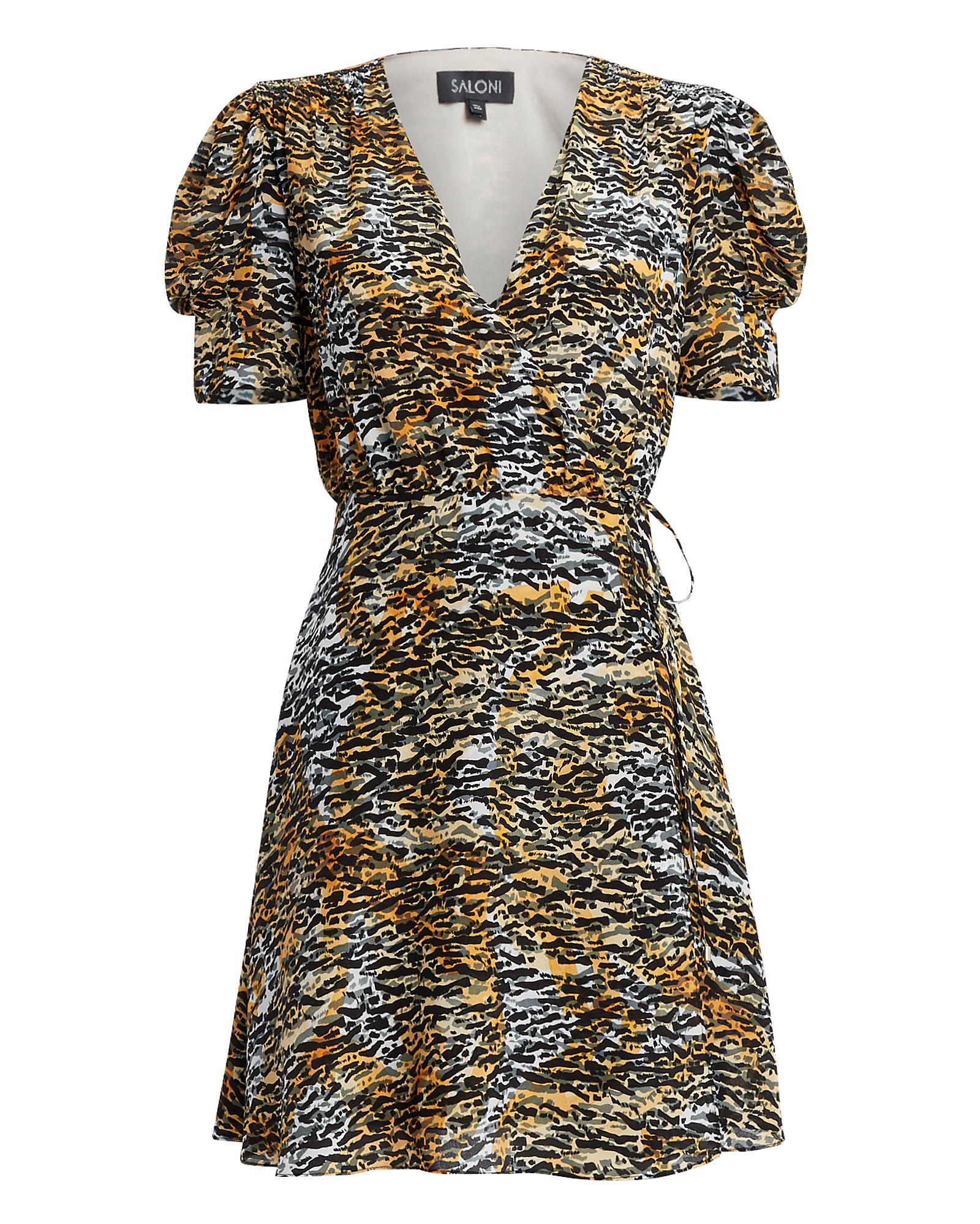 Saloni Dresses SALONI LEA SILK WRAP TIGER DRESS  BLACK/BROWN 8