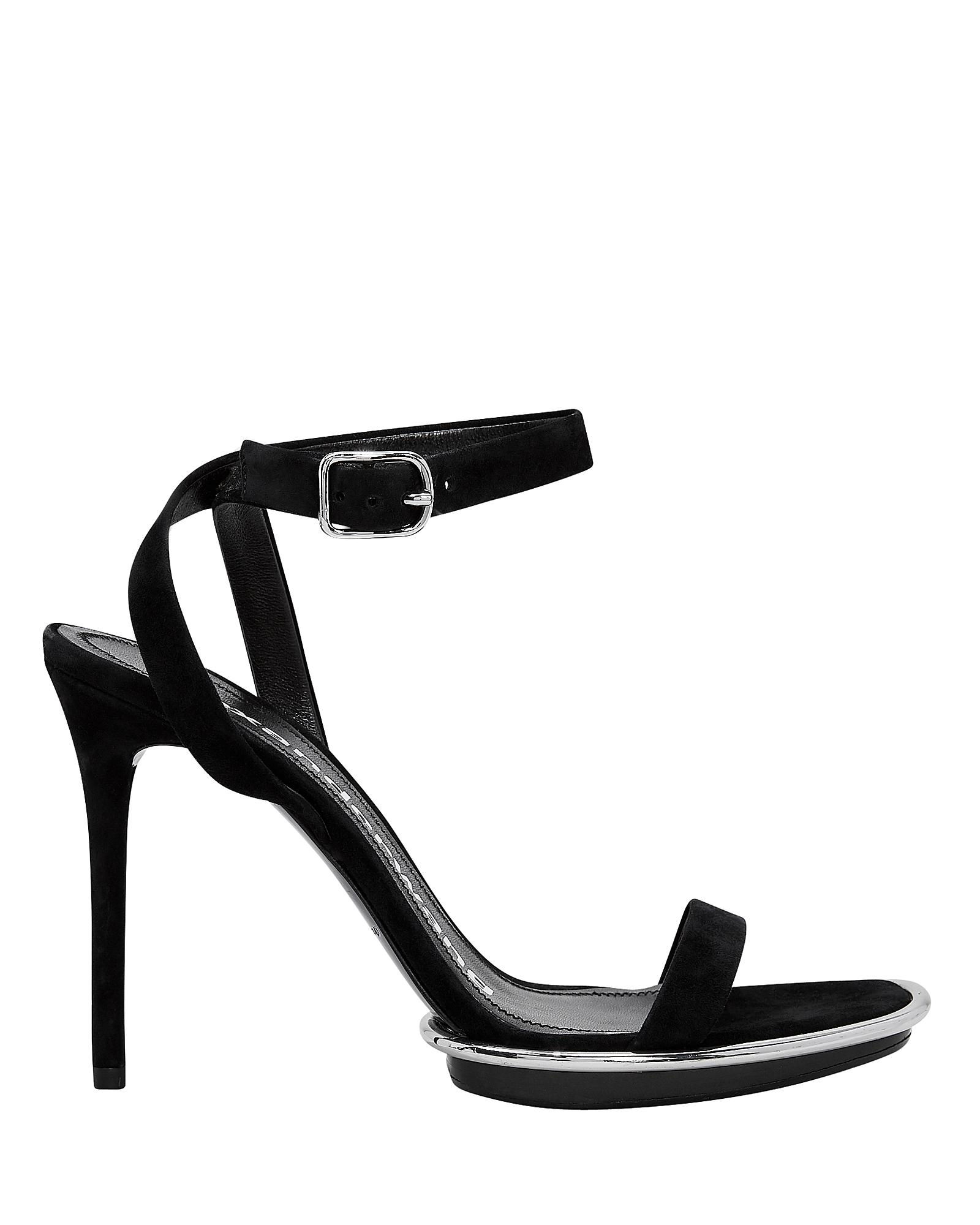 Cady Metallic-Trimmed Suede Platform Sandals in Black