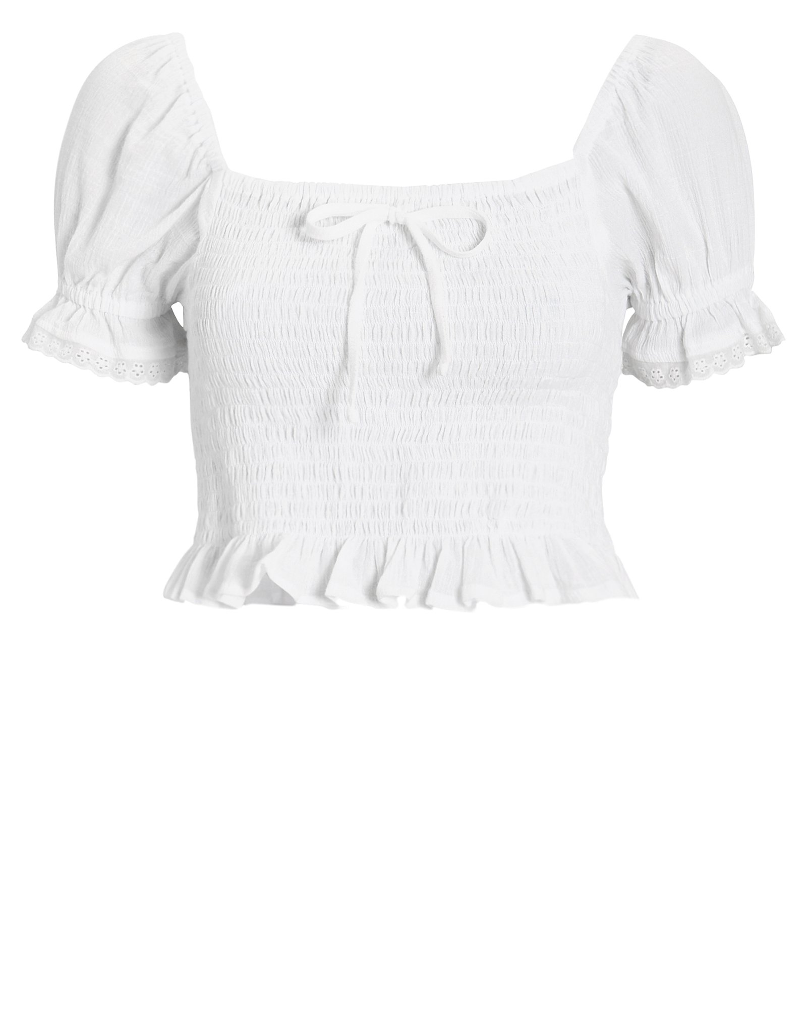 Faithfull The Brand Tops FAITHFULL THE BRAND MARIE COTTON CROP TOP  WHITE P