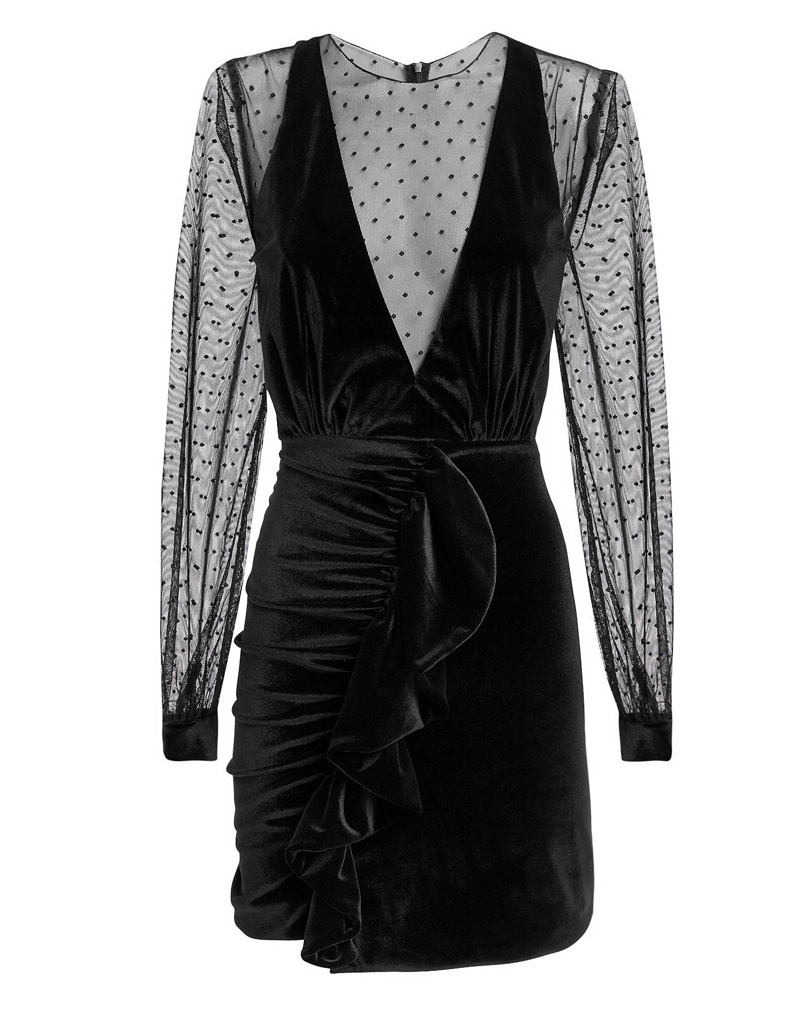 PAT BO Velvet Tulle Mini Dress Black