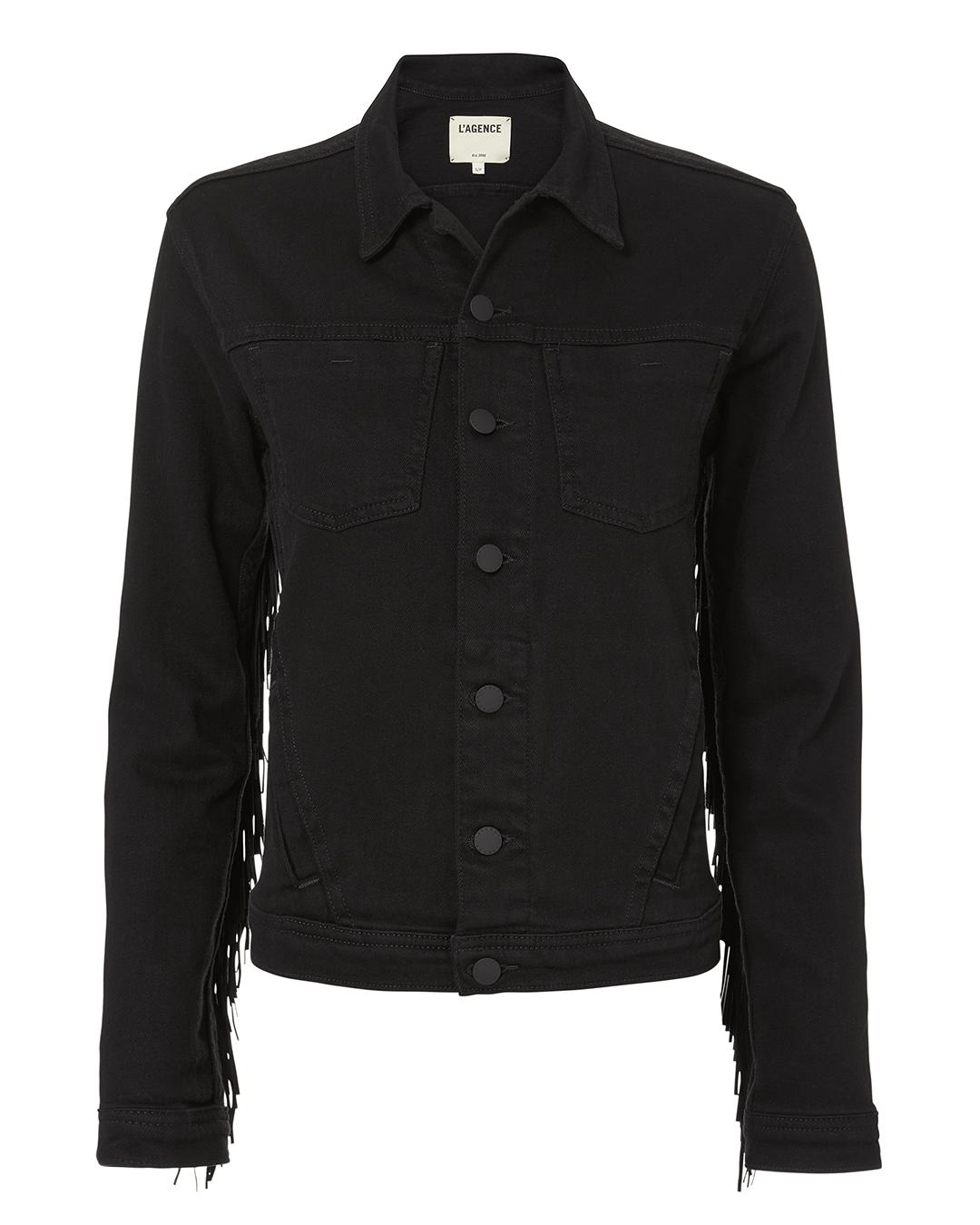 Celine Fringed Denim Jacket, Saturated Black