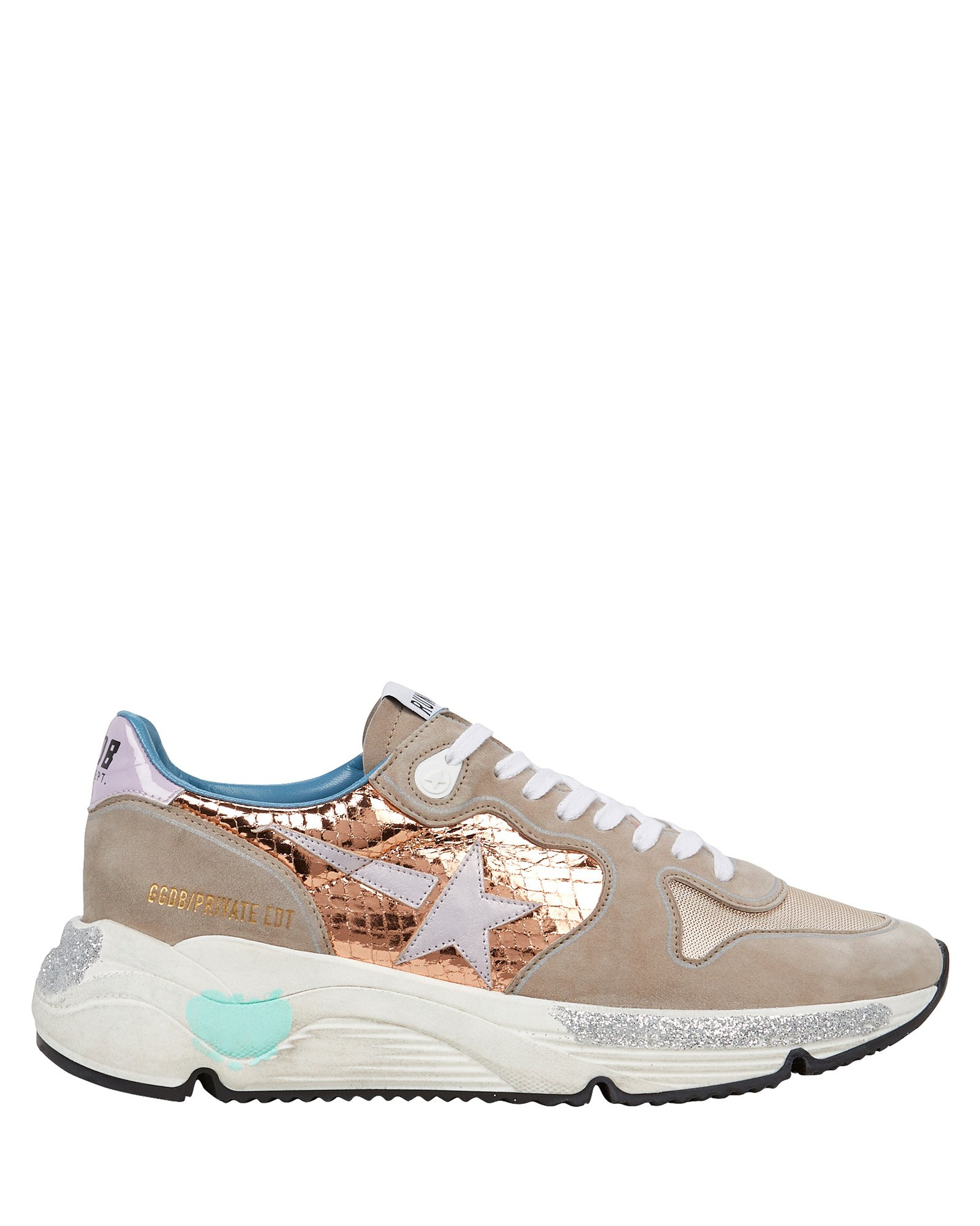 Golden Goose Running Sole Suede Sneakers In Taupe/Rose Gold