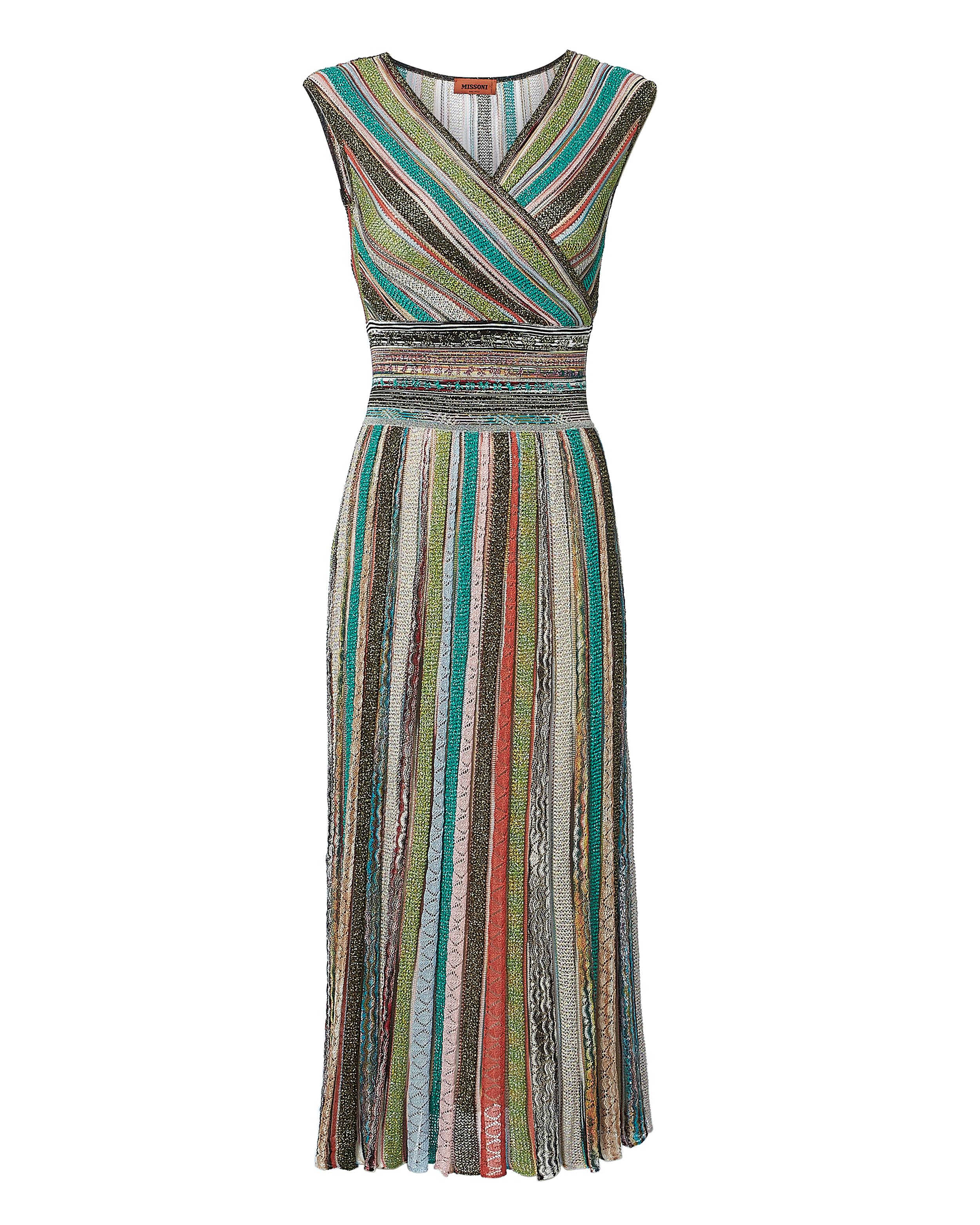 Striped Lurex Midi Dress
