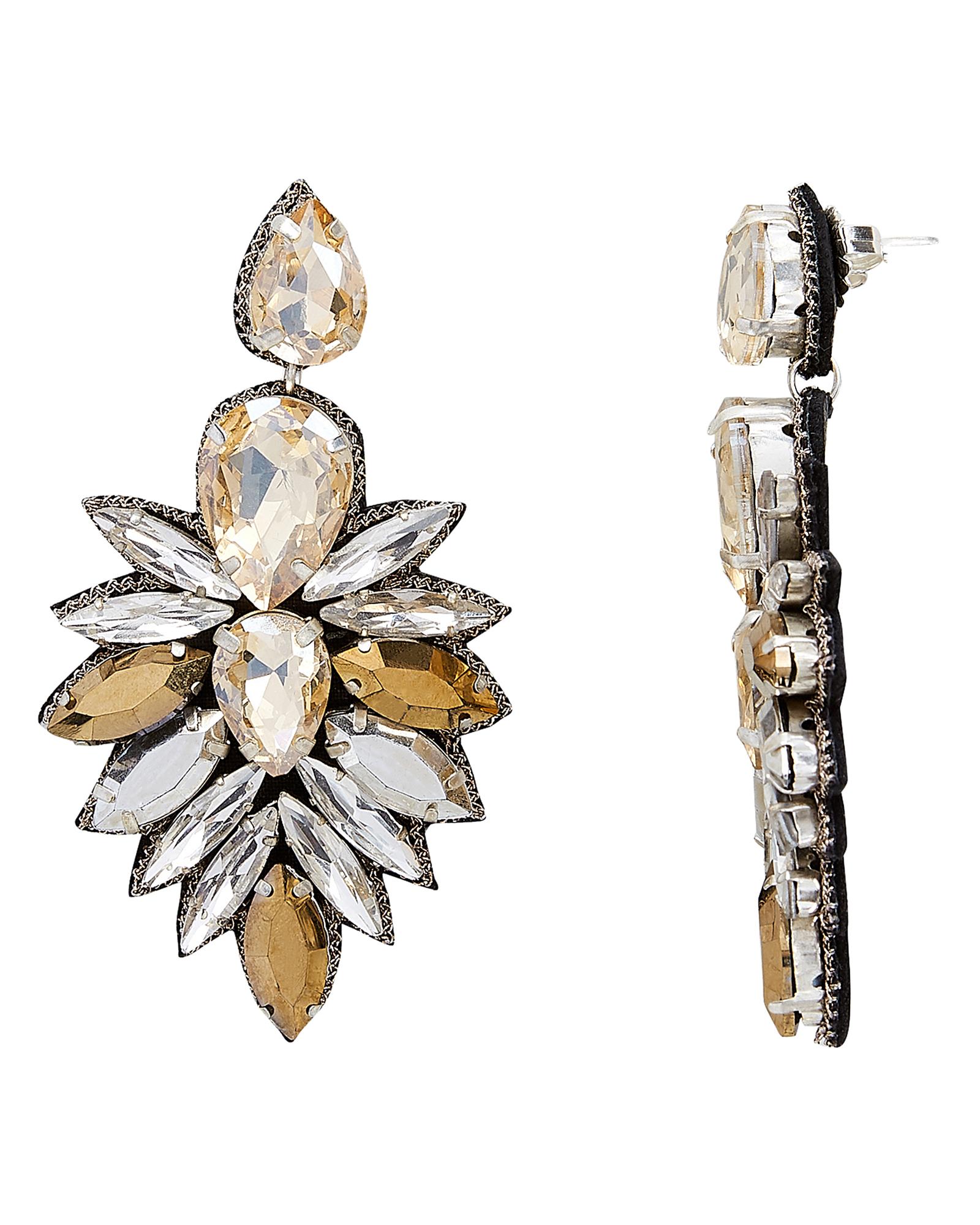 SUZANNA DAI Cuzco Champagne Crystal Drop Earrings