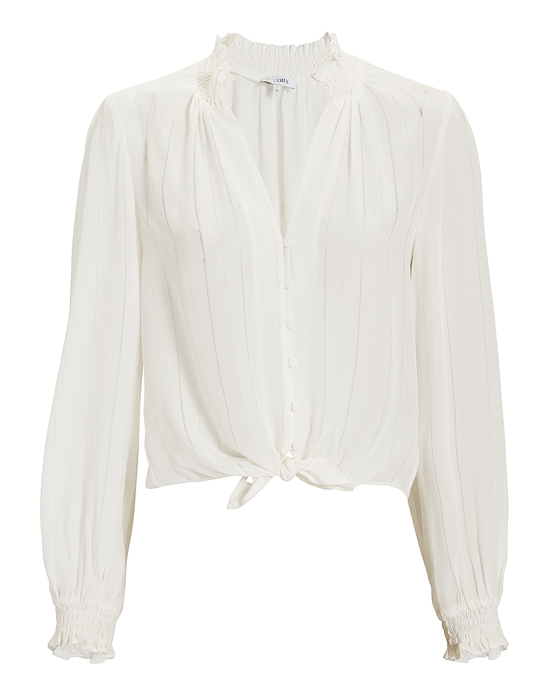 EXCLUSIVE FOR INTERMIX INTERIX AY TIE FRONT TOP WHITE