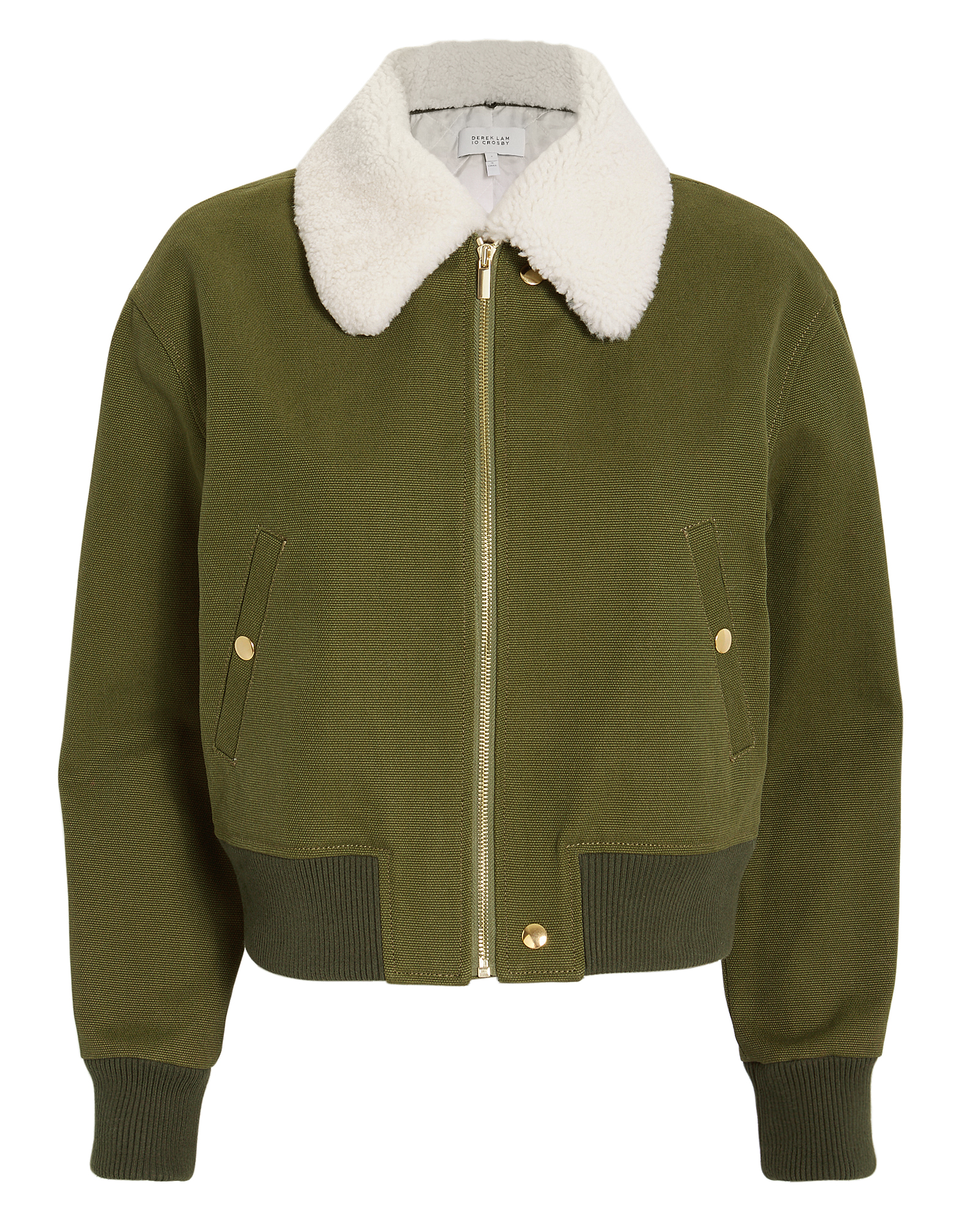 10 CROSBY Shearling Collar Army Green Bomber Jacket