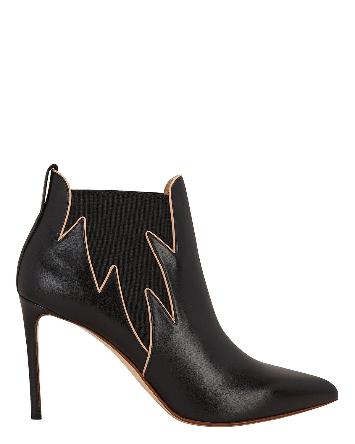 FLAMES LEATHER BOOTIES BLACK