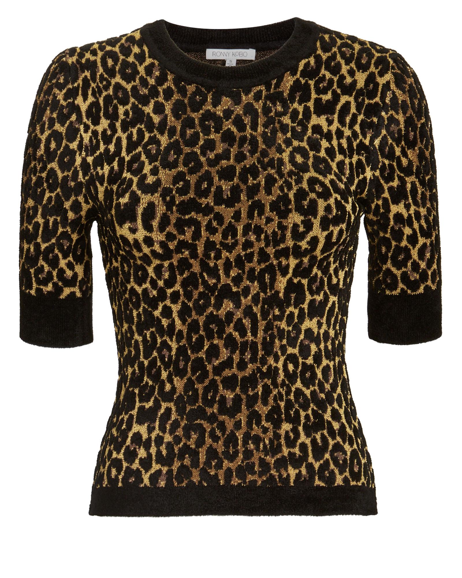 TORN Ronny Kobo Leopard Print Knit Top Leopard