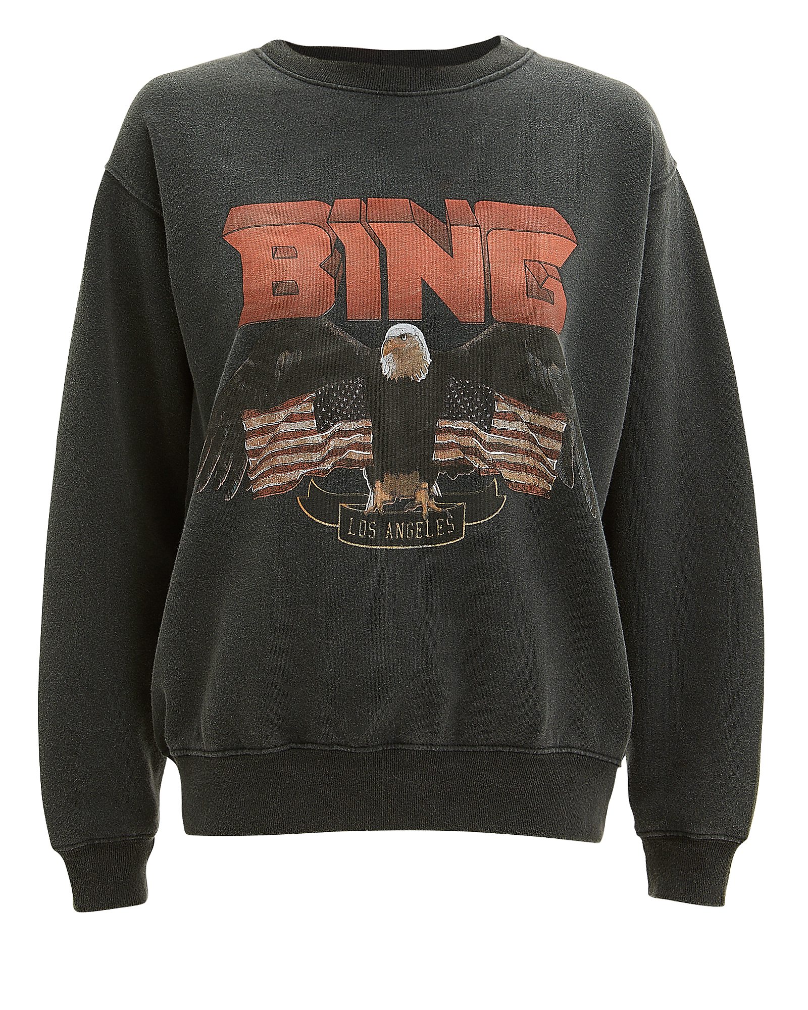 ANINE BING Vintage Eagle-Graphic Sweatshirt in Black
