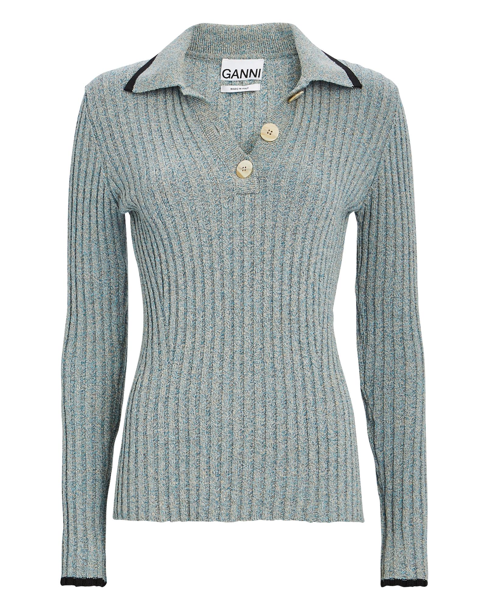 Ganni Linens Rib Knit Polo Sweater