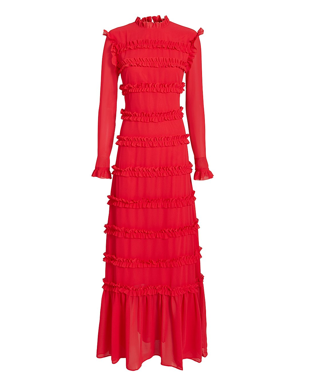 Hadley Ruffle-Trimmed Maxi Dress in Red