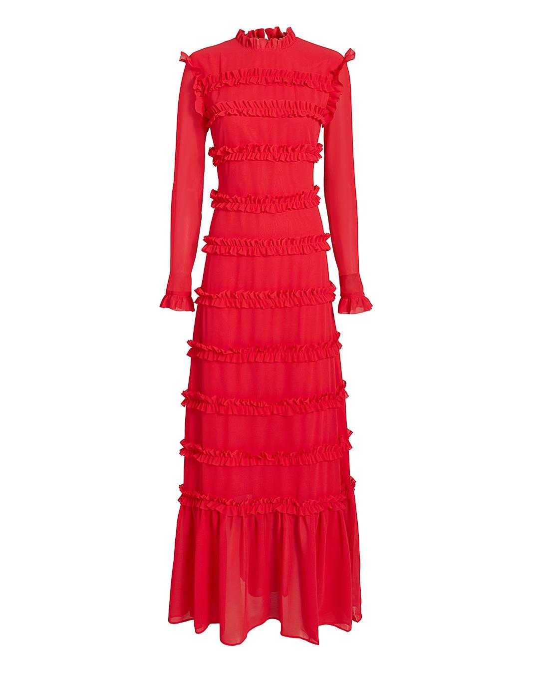 Hadley Ruffle-Trimmed Maxi Dress, Red