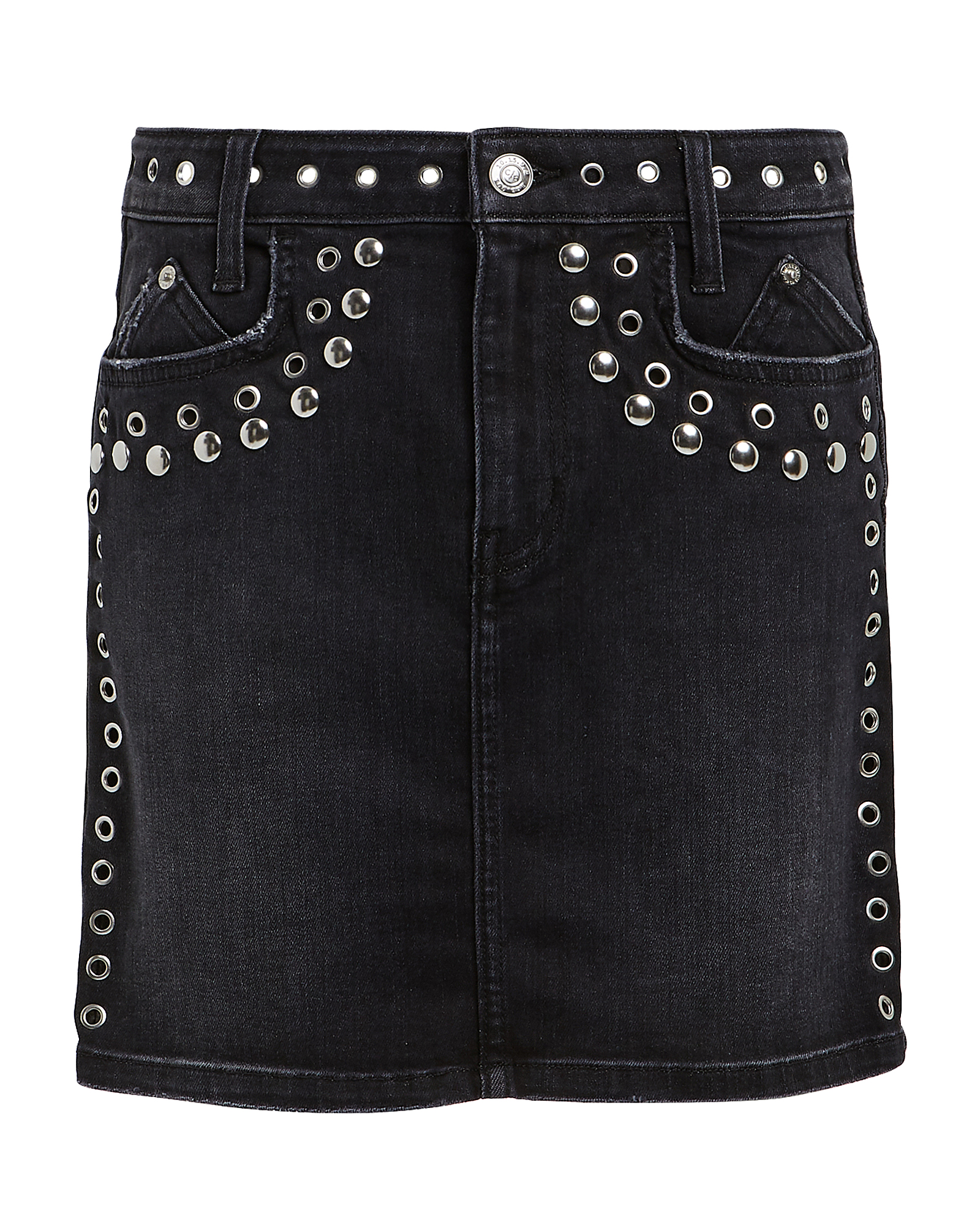 Current Elliott Skirts CURRENT/ELLIOTT STUDDED DENIM MINI SKIRT