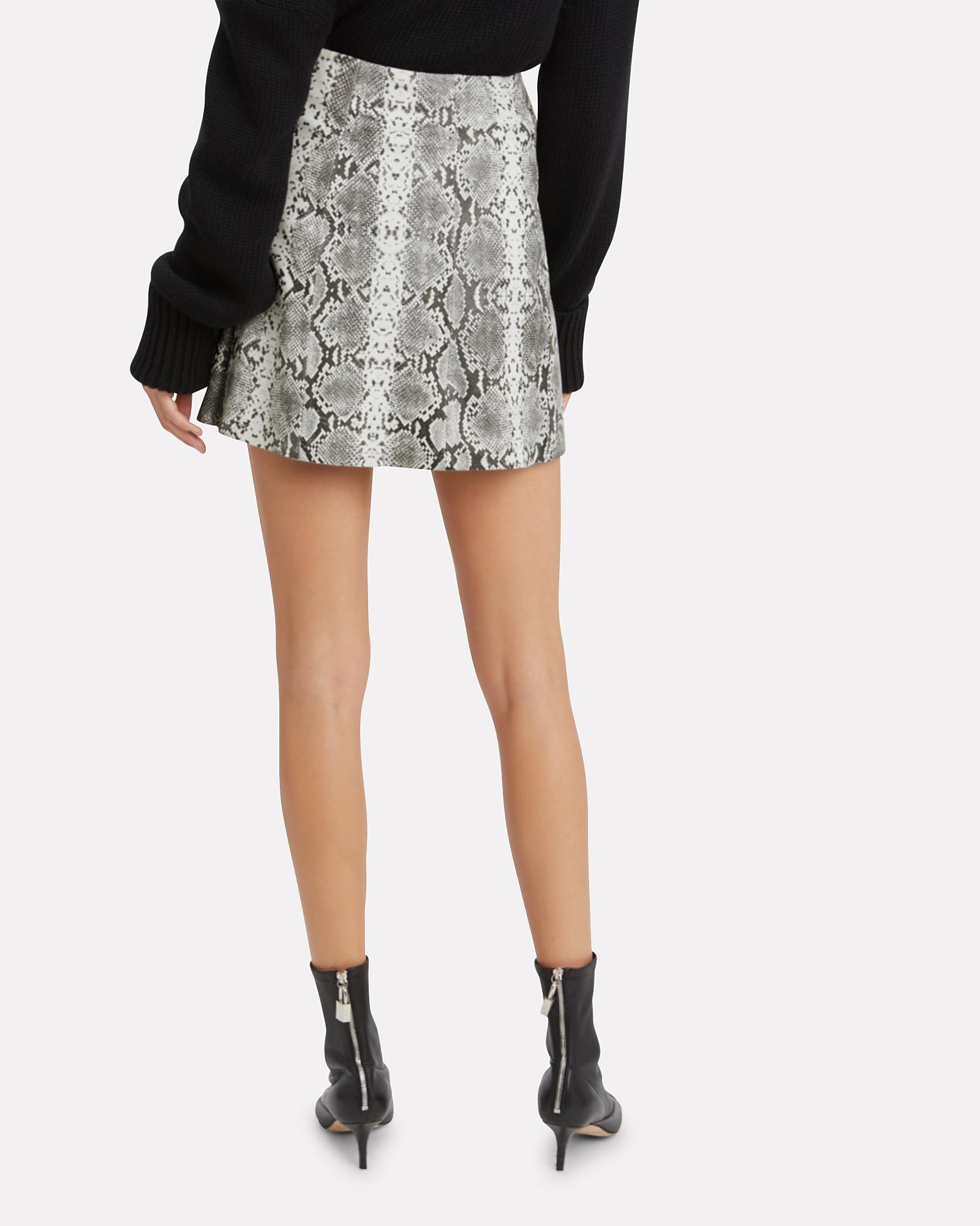 e431cc46a7f3 ... Leather Snake Print Mini Skirt, GREY, hi-res ...