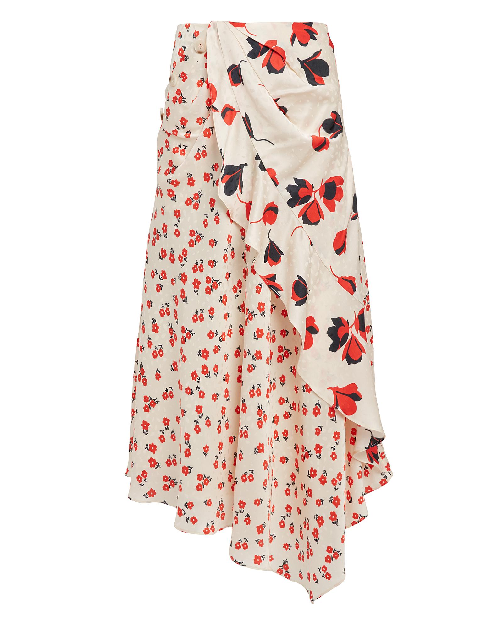 Floral Asymmetric Skirt by Self Portrait