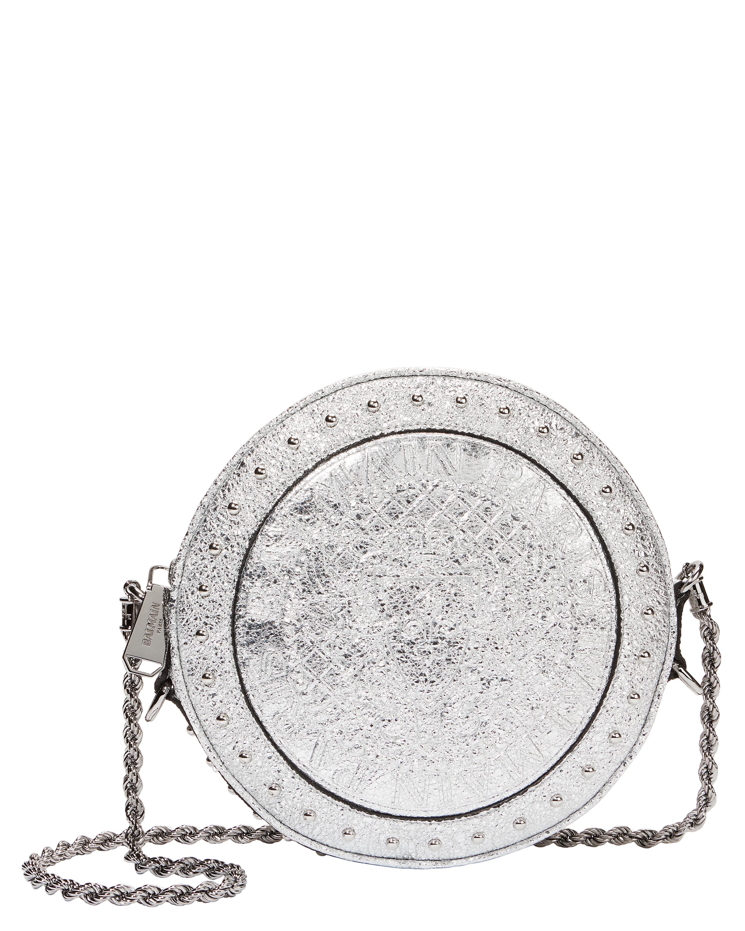 Disco Studded Silver Circle Crossbody Bag