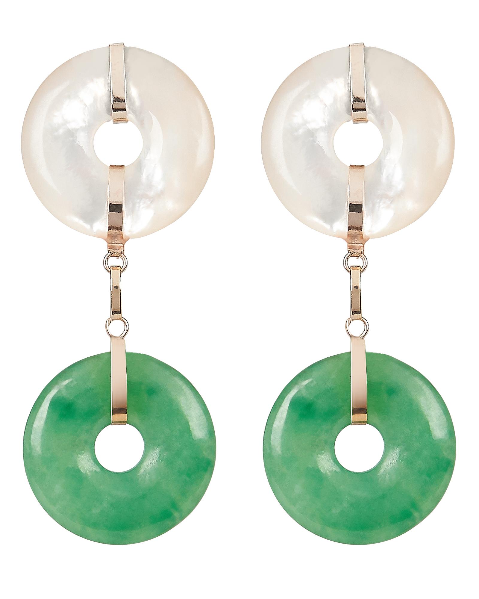 Jade And Pearl Drop Earrings by Loren Stewart