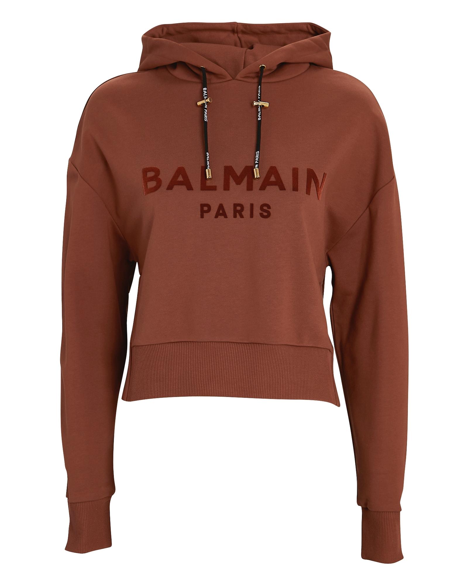 Balmain BALMAIN FLOCKED LOGO HOODED SWEATSHIRT