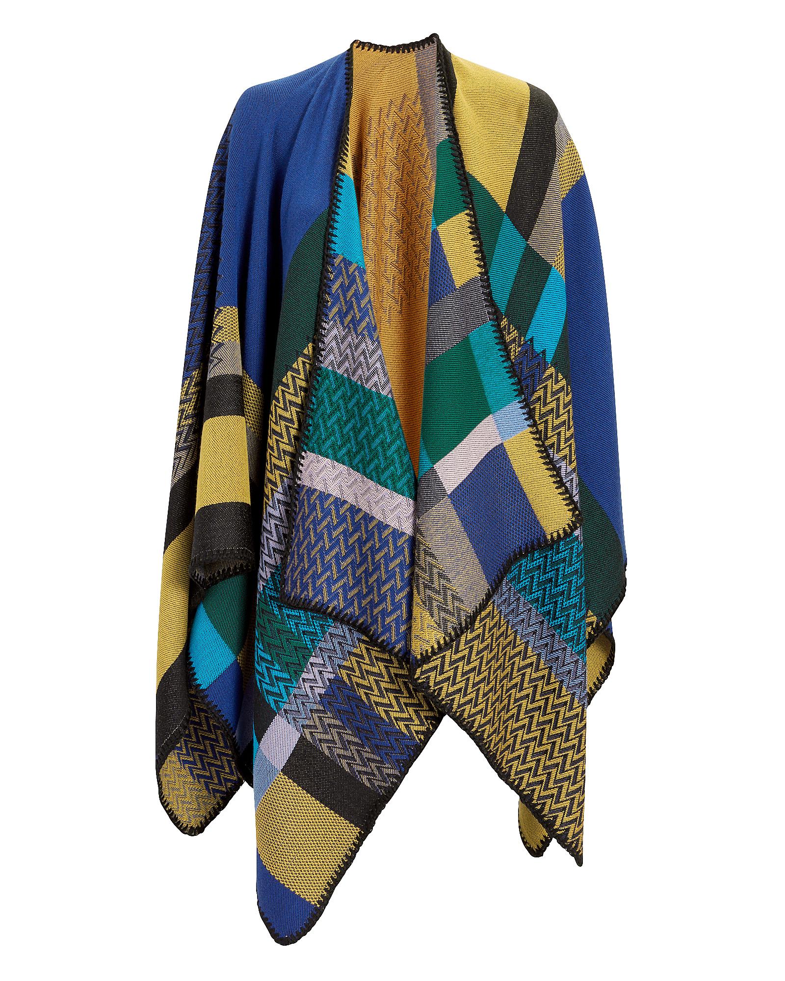 Mixed Knit Print Cape