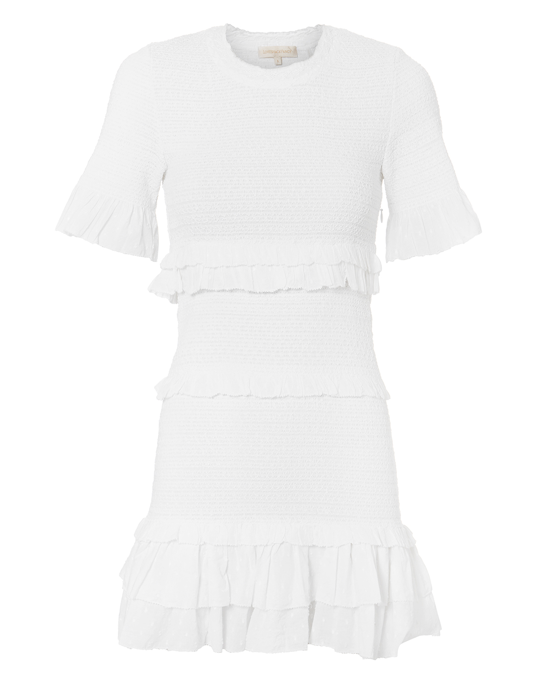 LOVE SHACK FANCY OVESHACKFANCY AVEINA SMOCKED DRESS WHITE