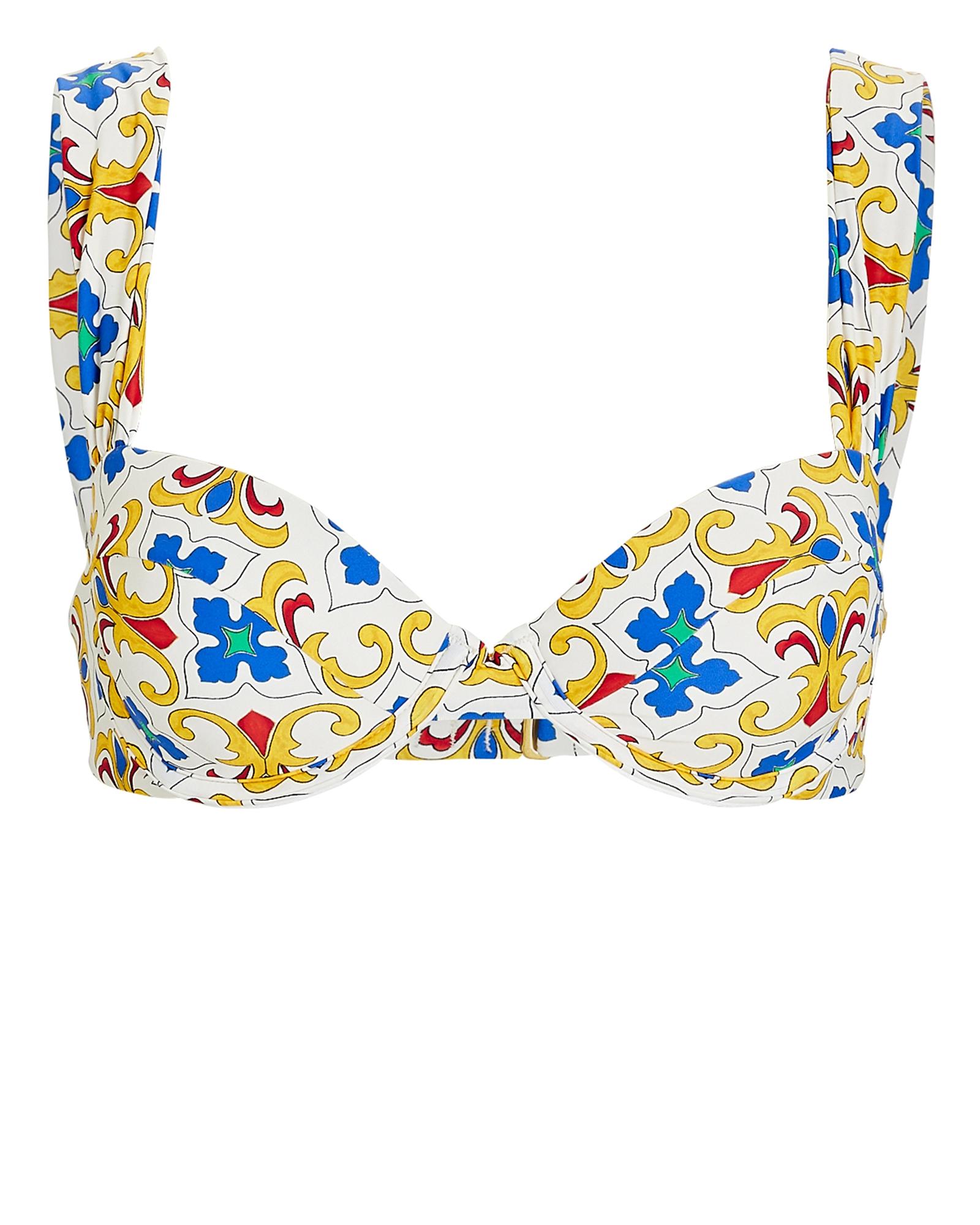 Weworewhat Claudia Printed Bikini Top