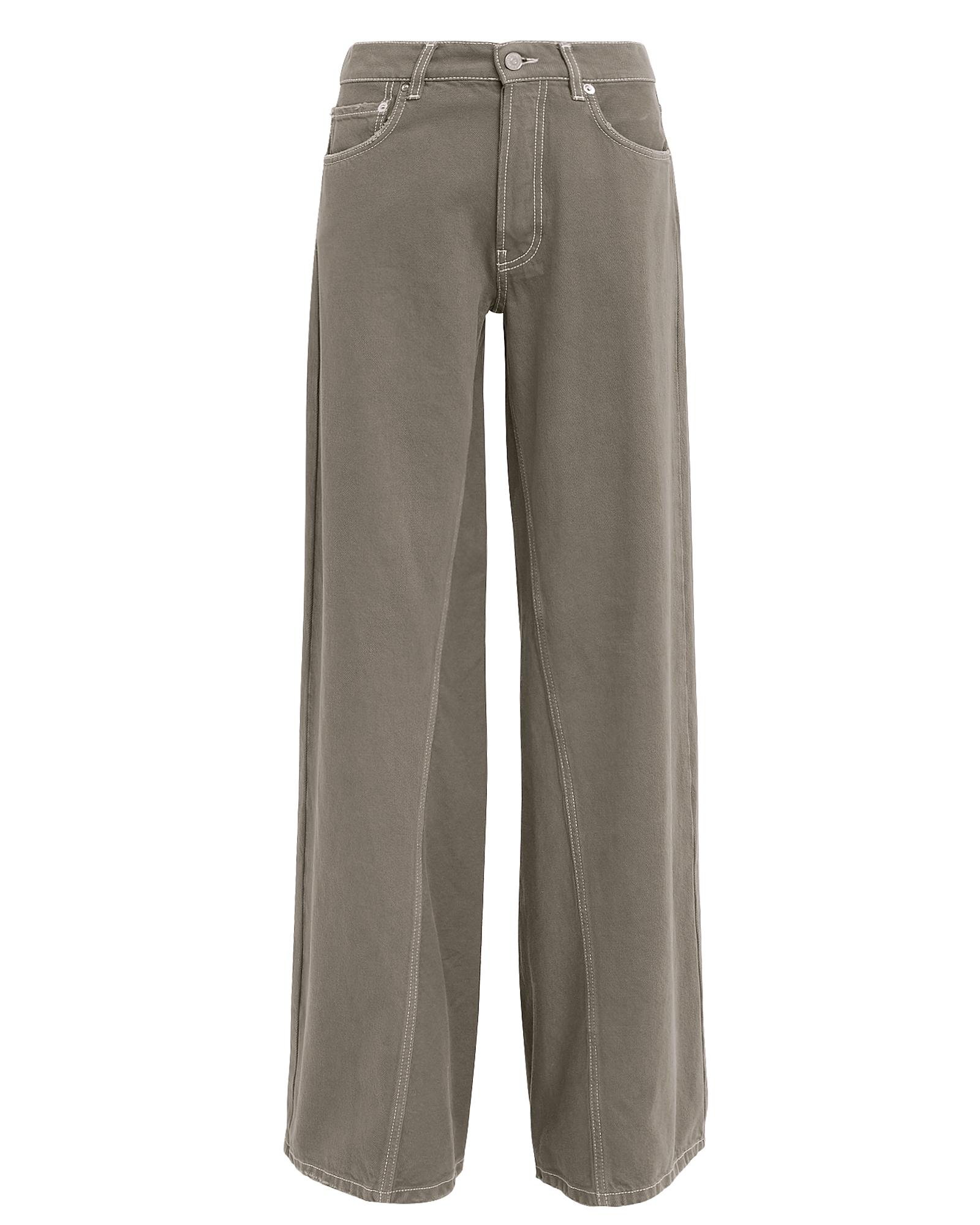 Ganni Jeans GANNI SHILOH WIDE LEG JEANS  OLIVE 26