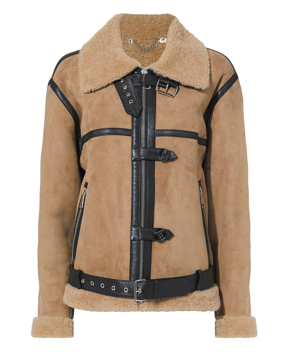 VICTORIA VICTORIA BECKHAM Shearling Fitted Jacket in Neutrals