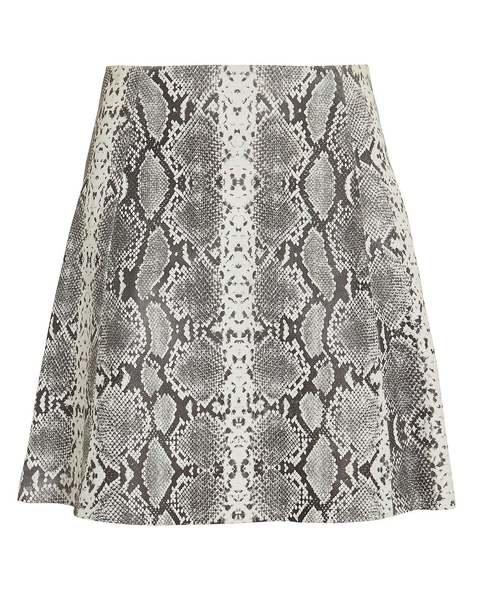 Veda Leather Snake Print Mini Skirt