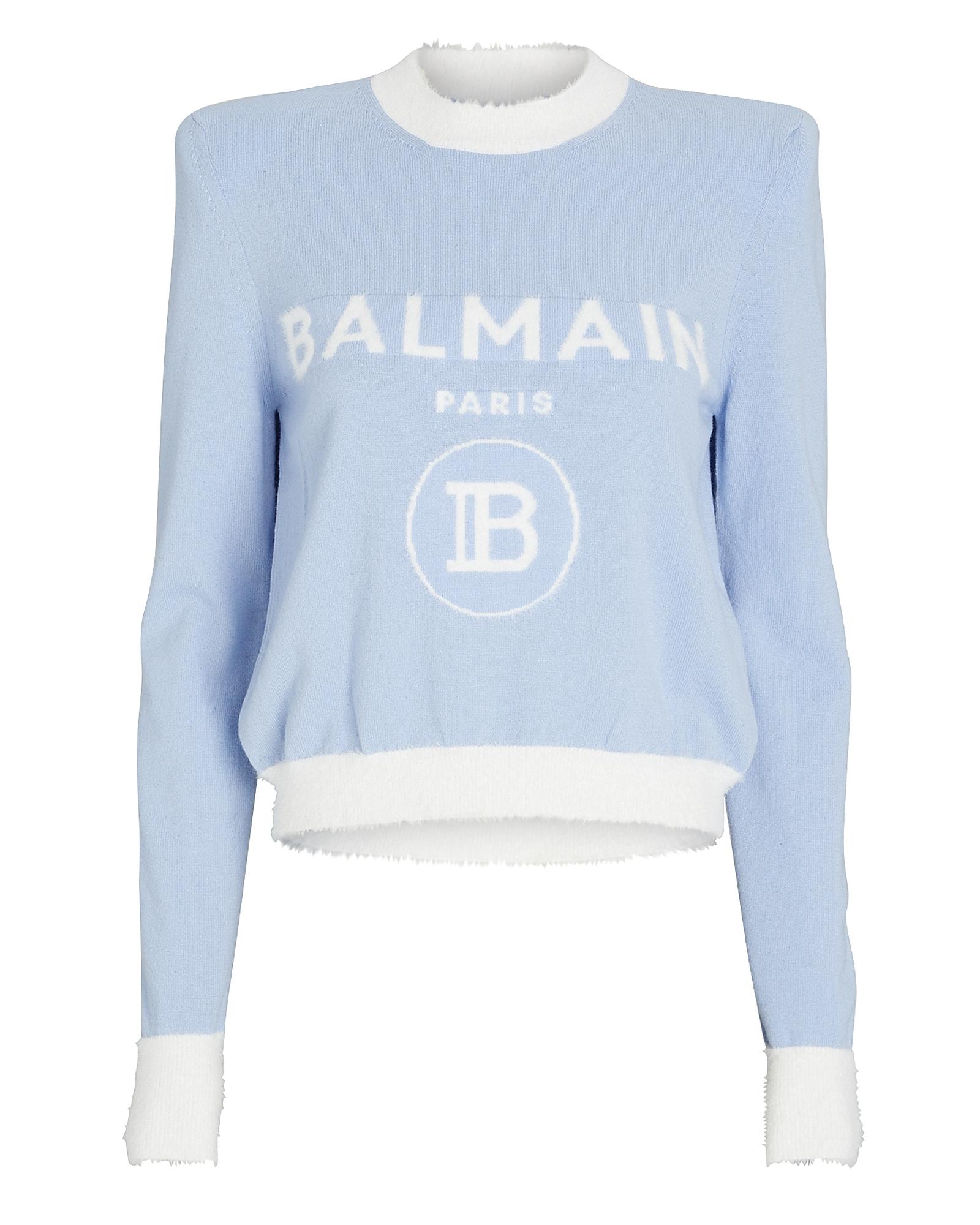 Balmain BALMAIN STRUCTURED WOOL-BLEND LOGO SWEATER