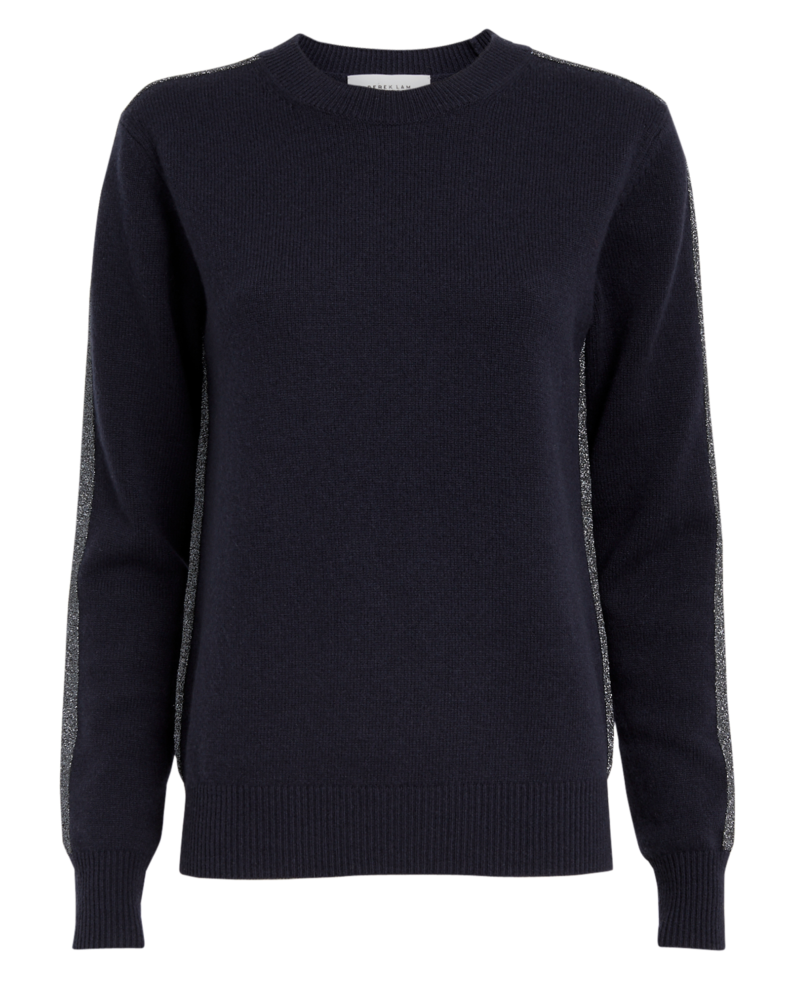 10 CROSBY Lurex Striped Navy Cashmere Sweater