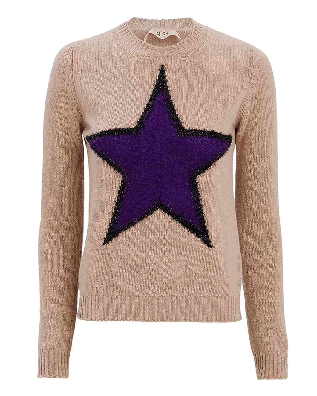 NO. 21 STAR FRONT SWEATER PINK