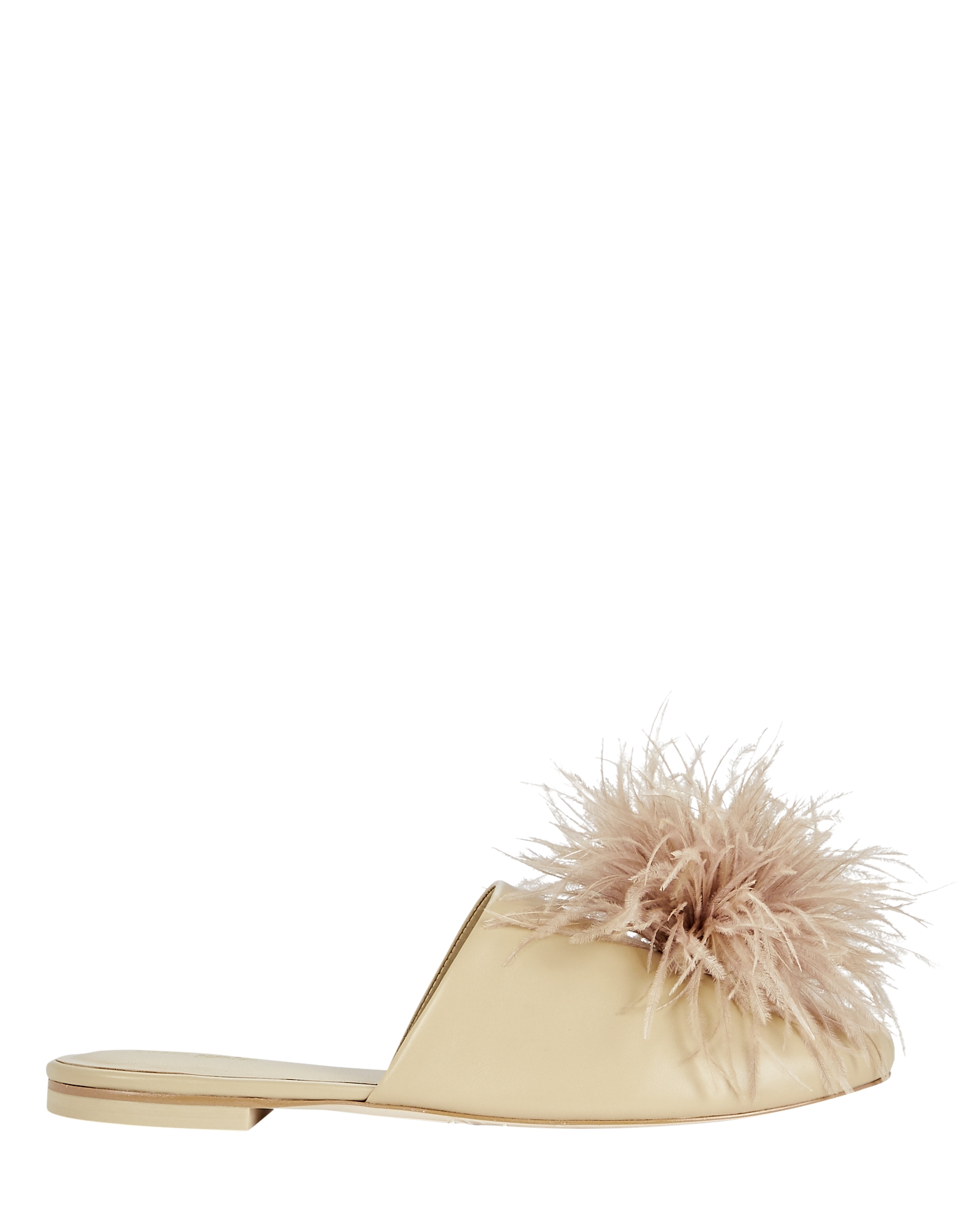 Cult Gaia RAY FEATHER-TRIMMED FLAT MULES