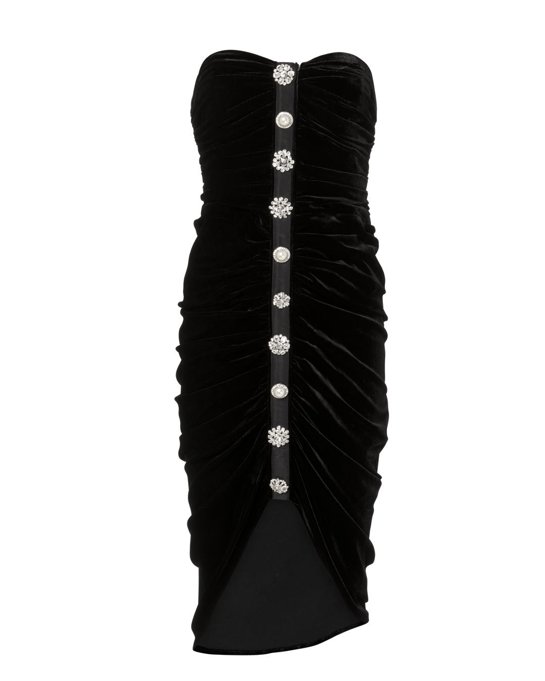 VERONICA BEARD PALO RUCHED VELVET DRESS BLACK