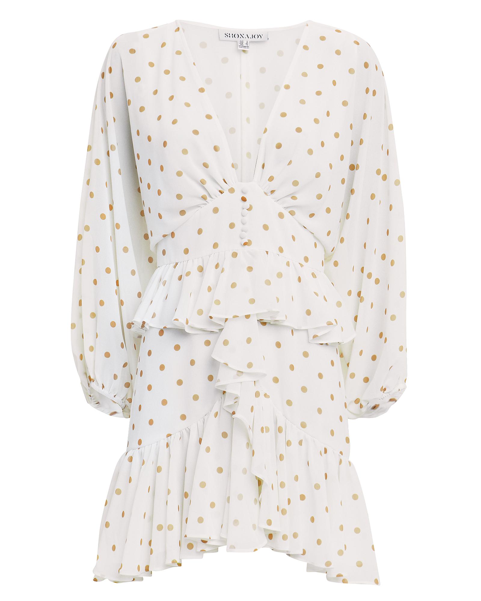 SHONA JOY Sophia Dot-Print Plunged V-Neck Ruffle Mini Peplum Dress in White