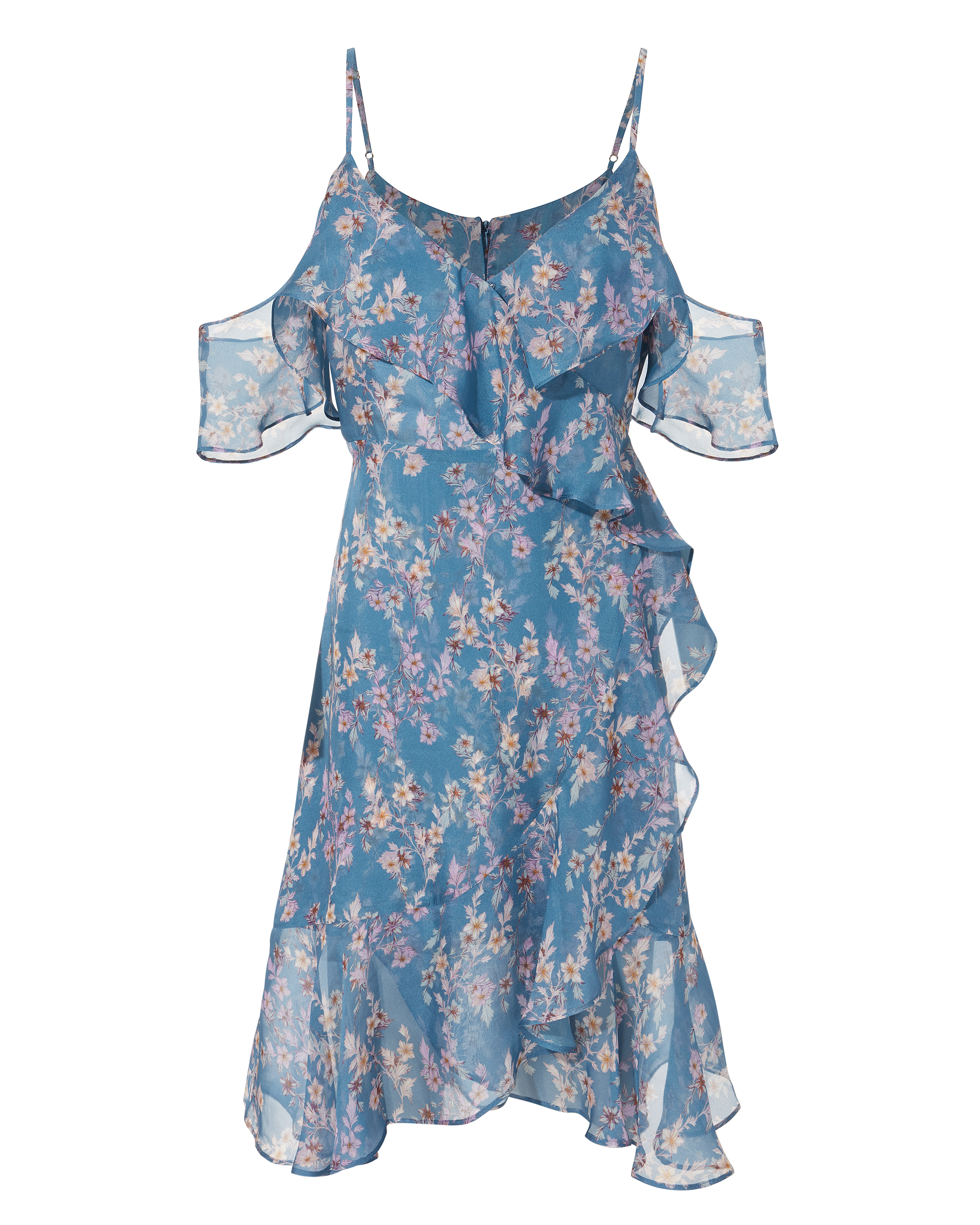 Marissa Blue Vine Ruffled Dress by Intermix
